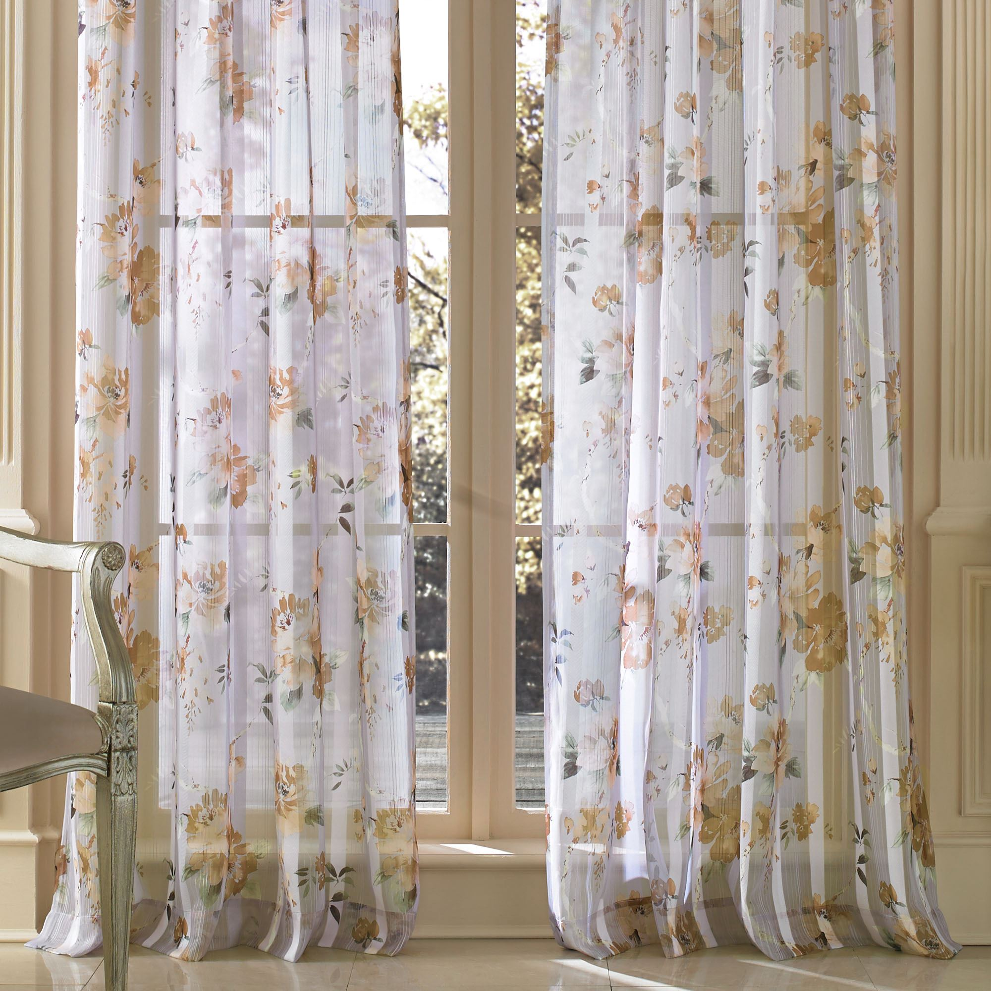 Imperial Garden Watercolor Floral Sheer Window Treatment
