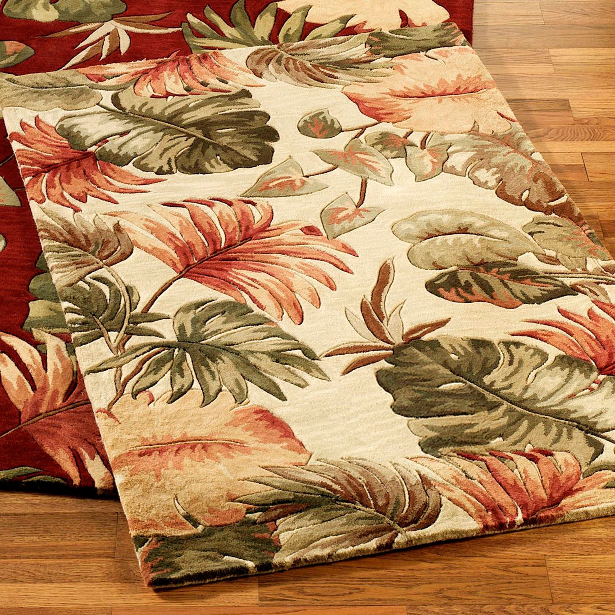 Palm Leaf Tropical Area Rugs