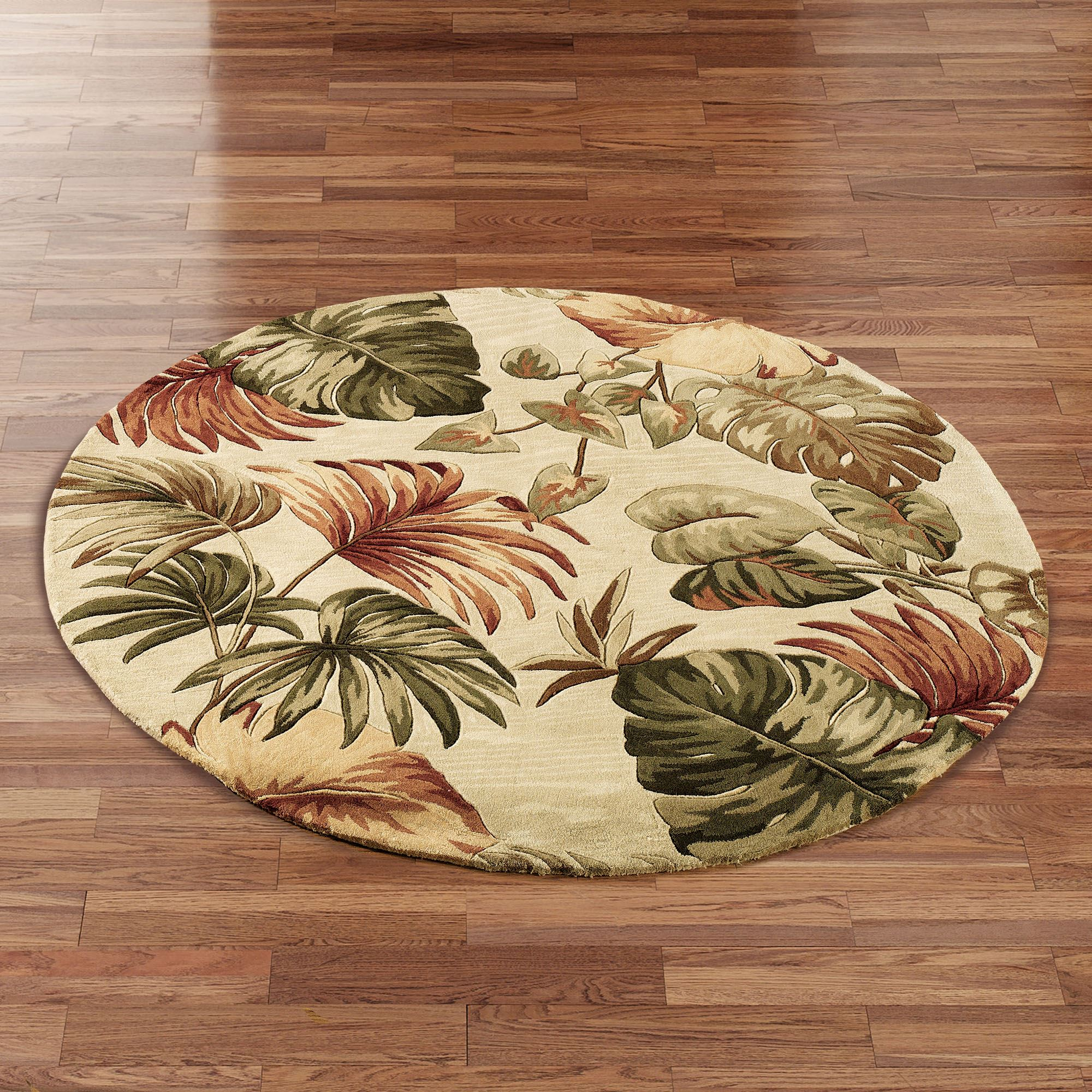 Palm Leaf Tropical Round Rugs
