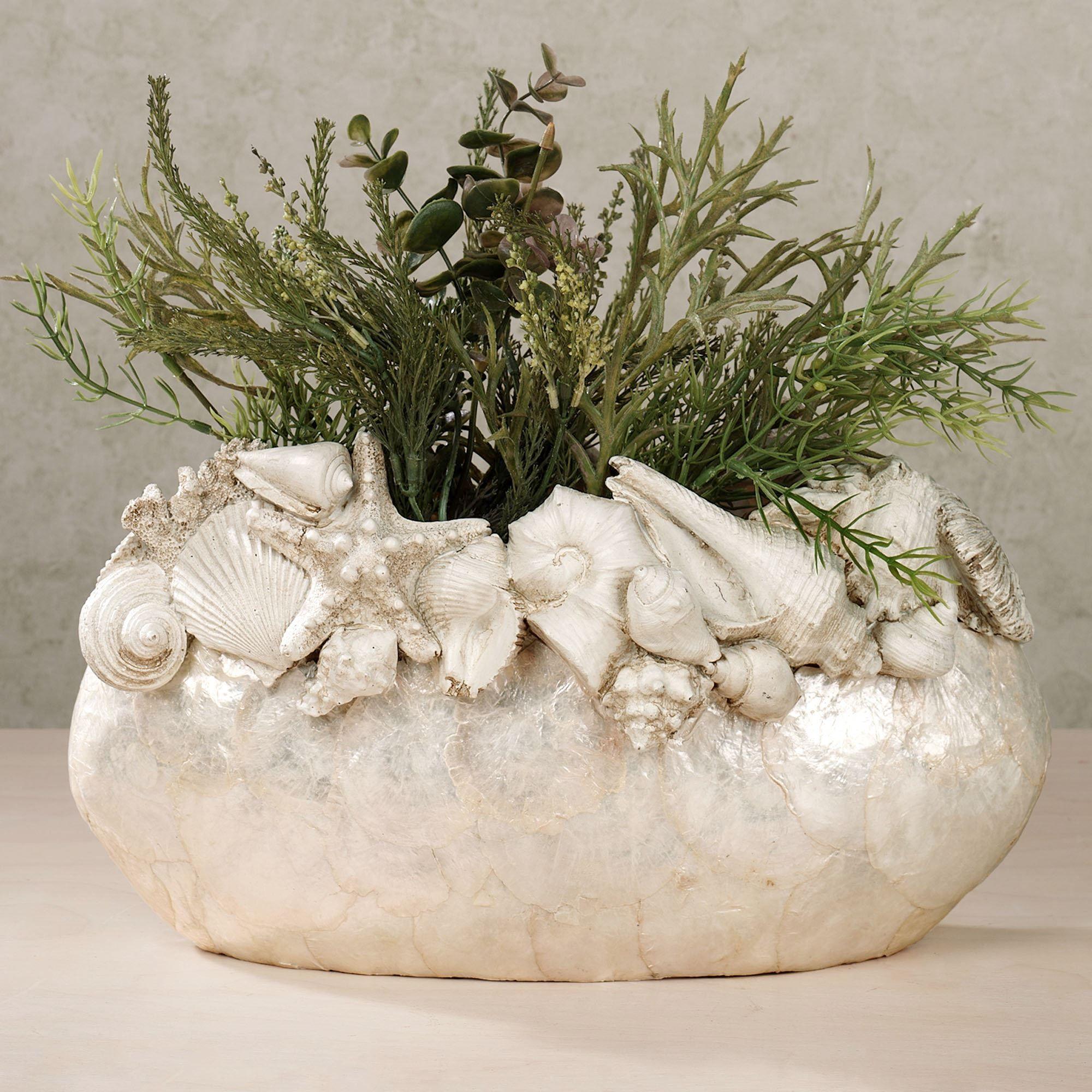 Seashell island capiz shell decorative vase seashell island vase ivory click to expand reviewsmspy