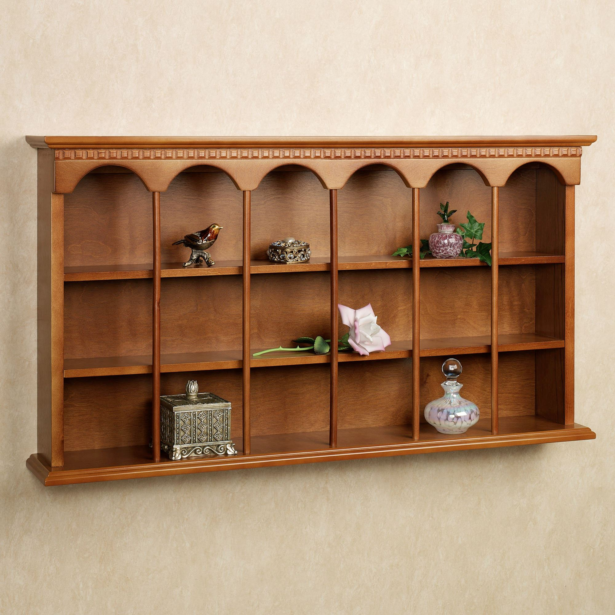 Mackenzie Wooden Wall Curio Display Shelf