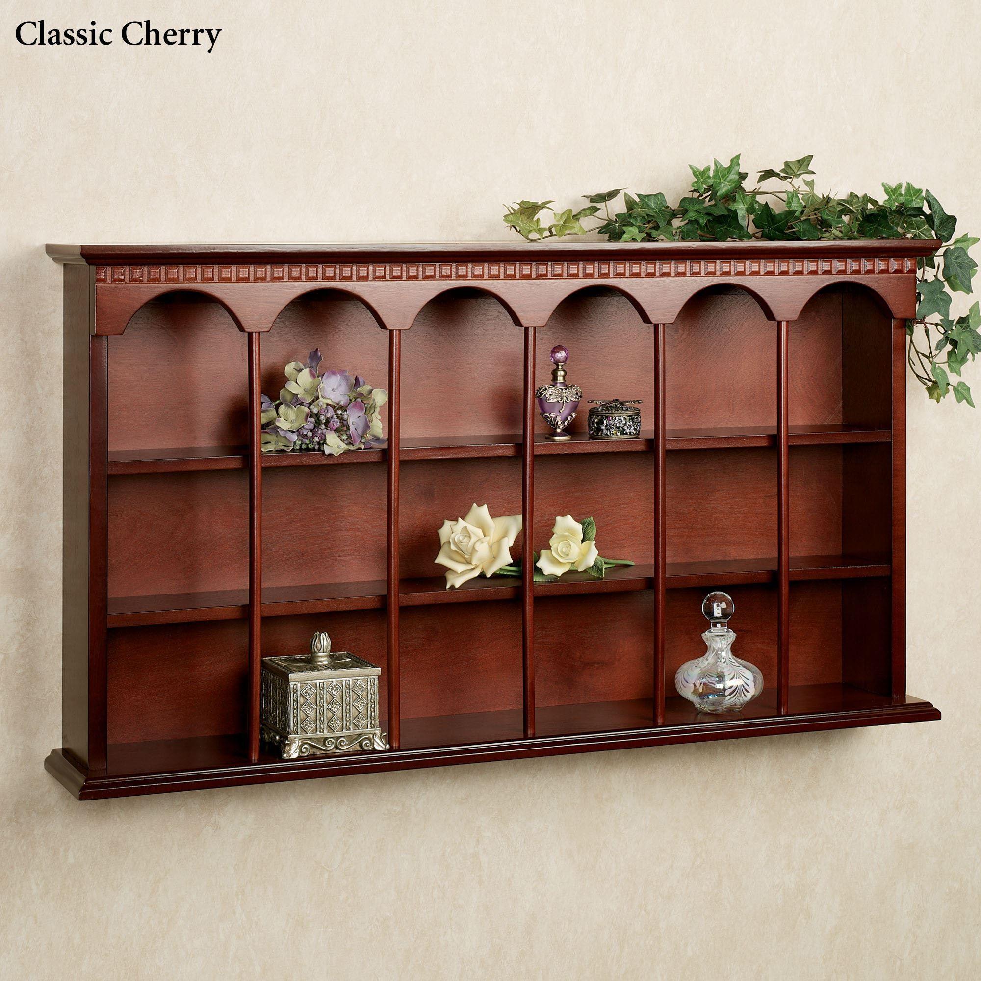 Kitchen Shelf Display: MacKenzie Wooden Wall Curio Display Shelf