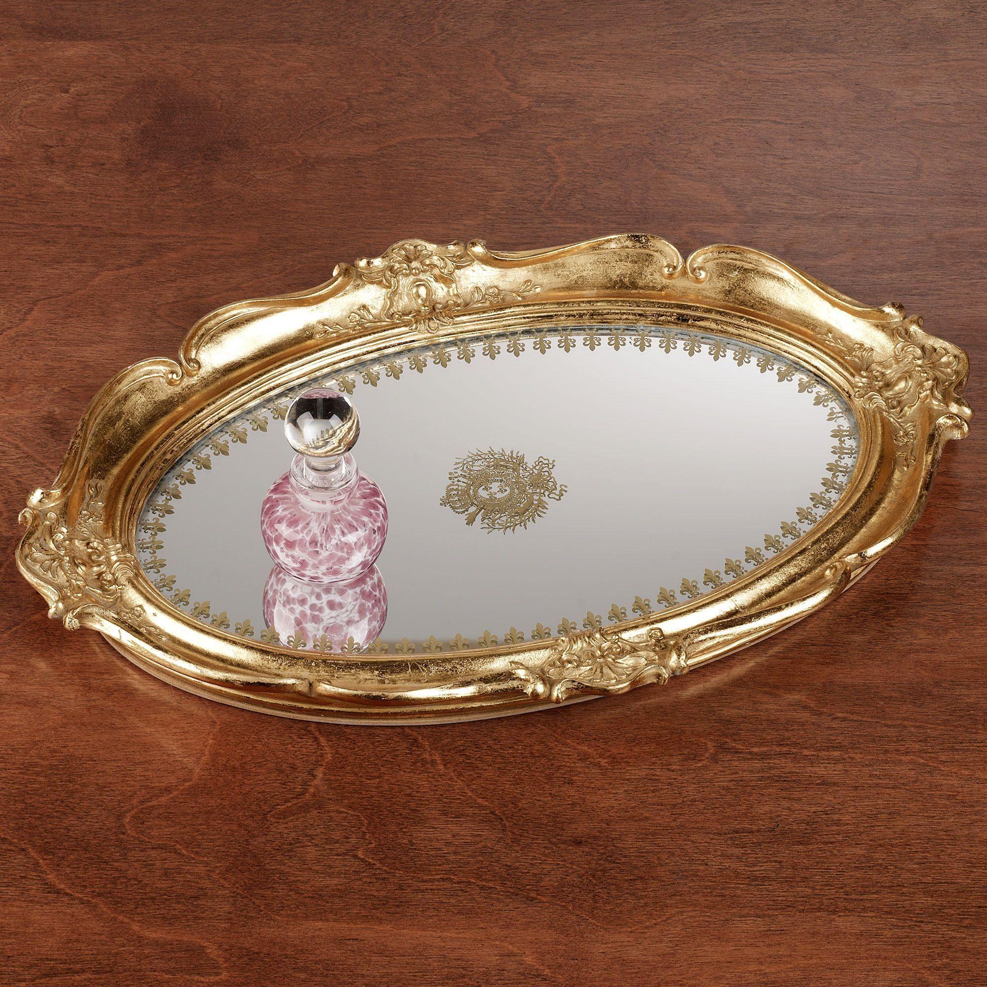 Adina Gold Scalloped Mirrored Vanity Tray