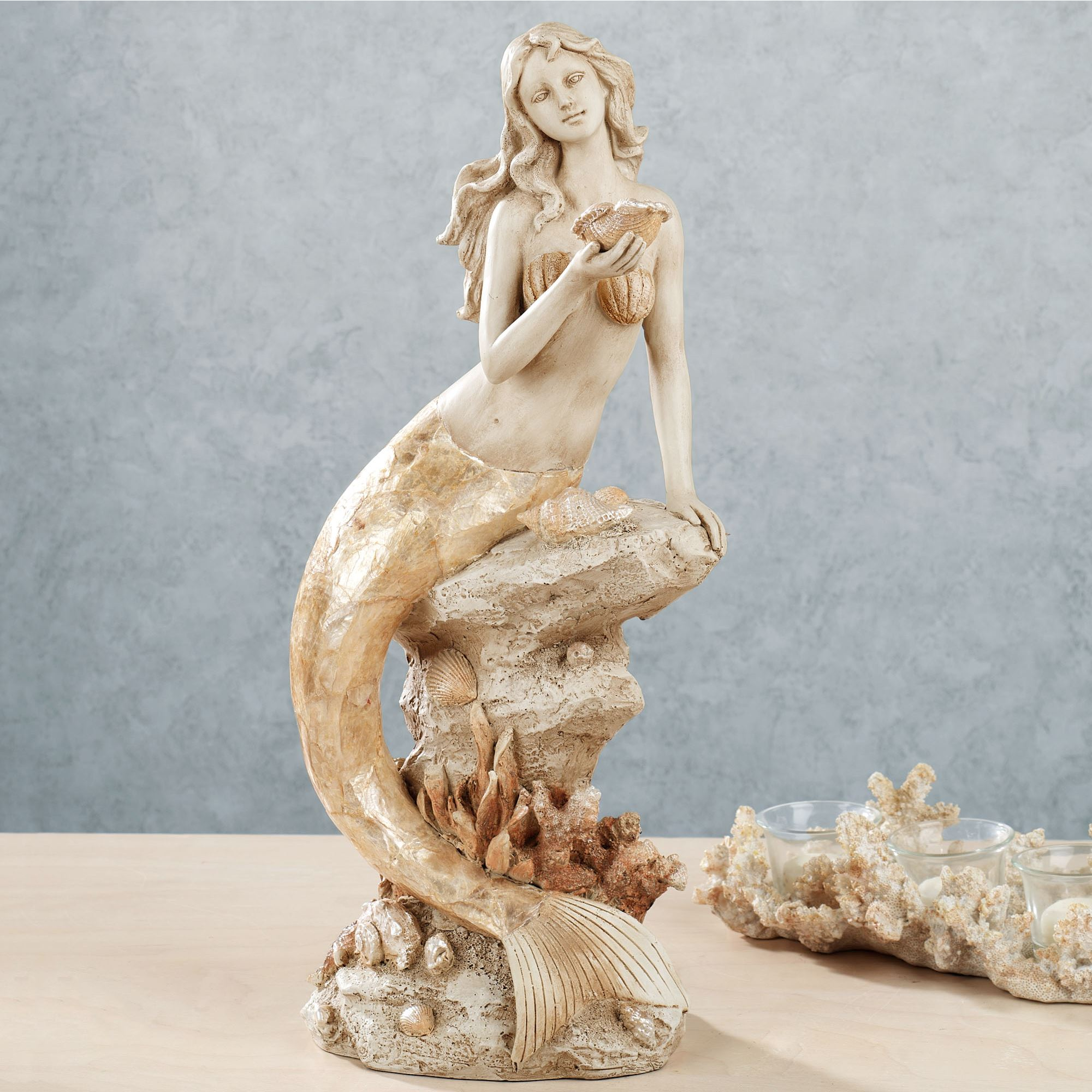 Seashell Home Decor Moonlight Mermaid Table Sculpture
