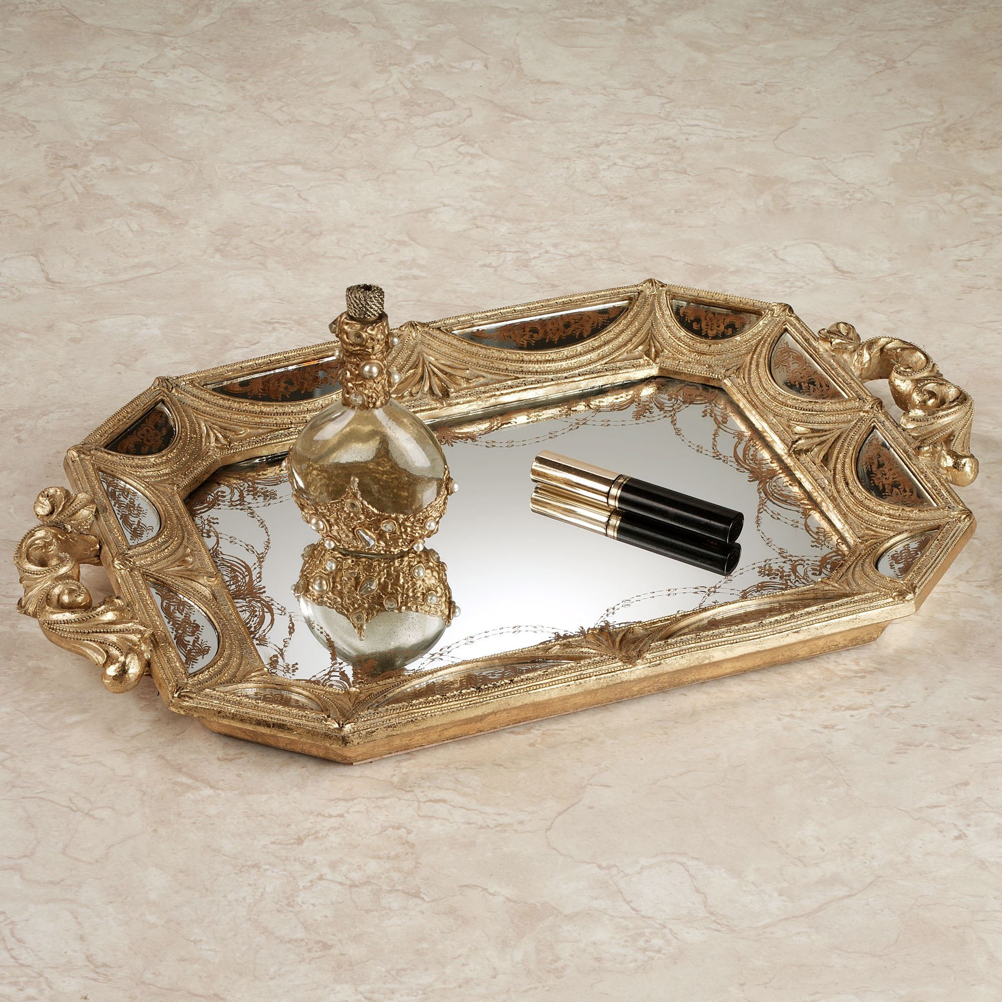 nora mirrored vanity tray gold click to expand - Bathroom Accessories Vanity Tray