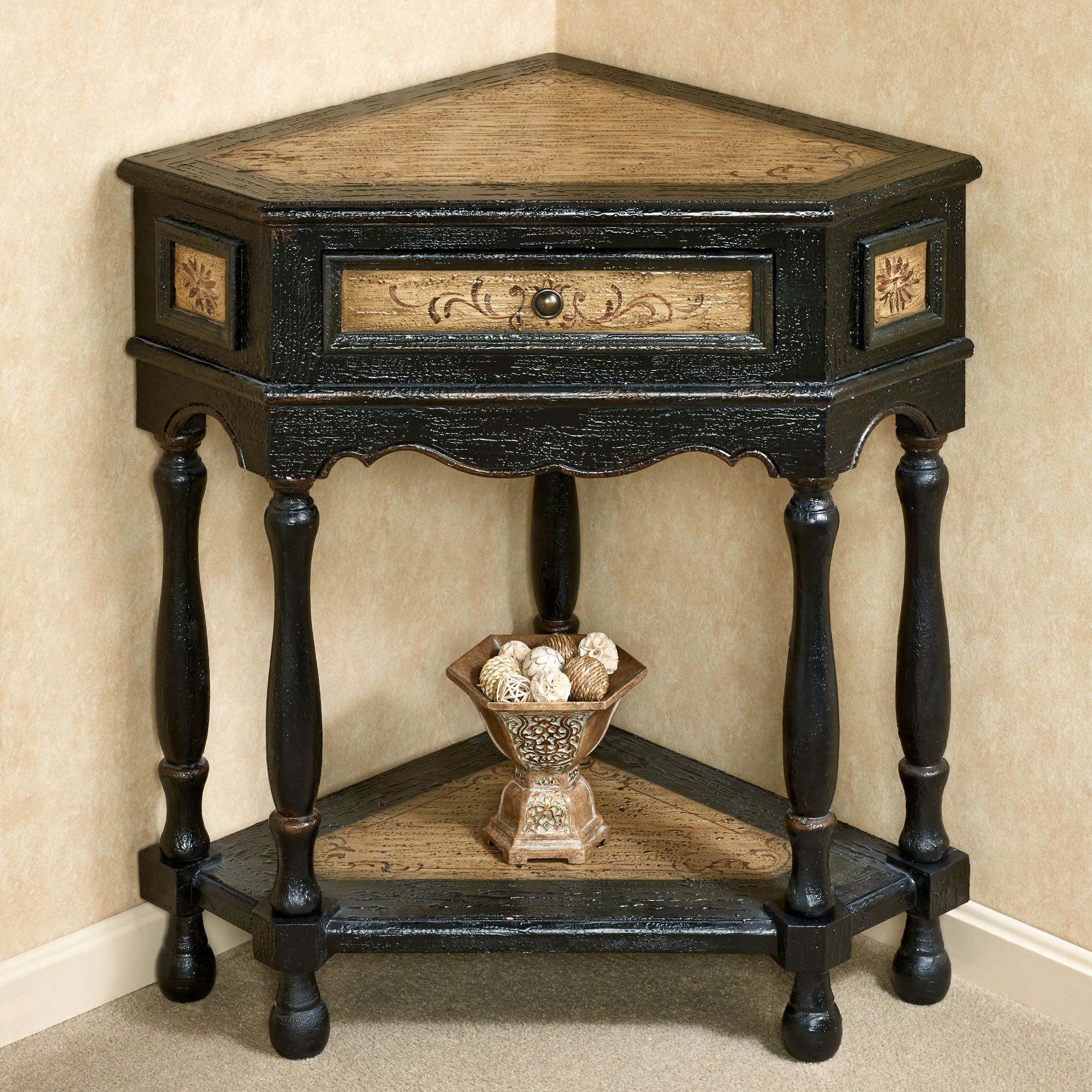 Elmhurst Black Corner Accent Table With Drawer - Black corner end table