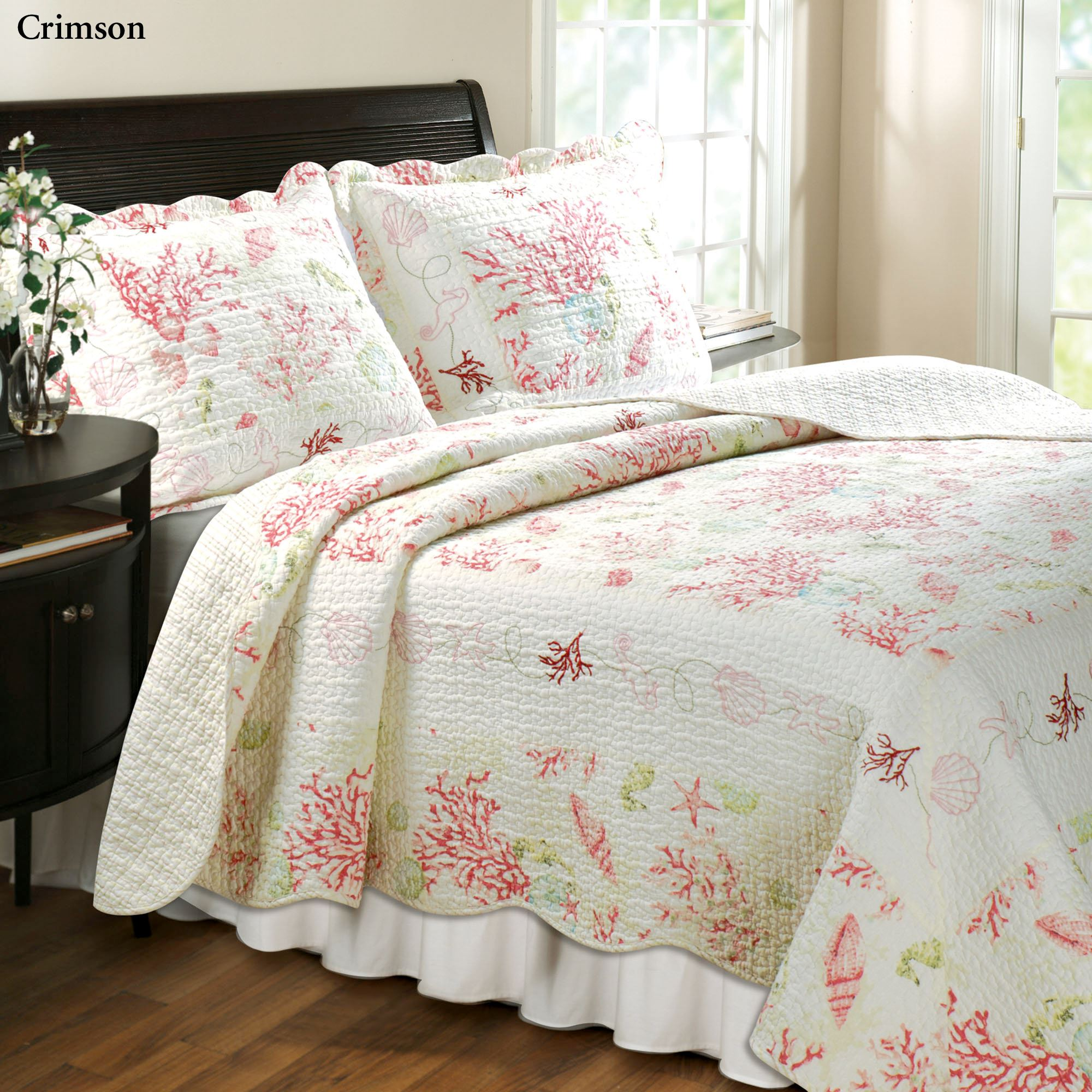 Coral Cotton Quilt Bedding Set : coral quilt - Adamdwight.com