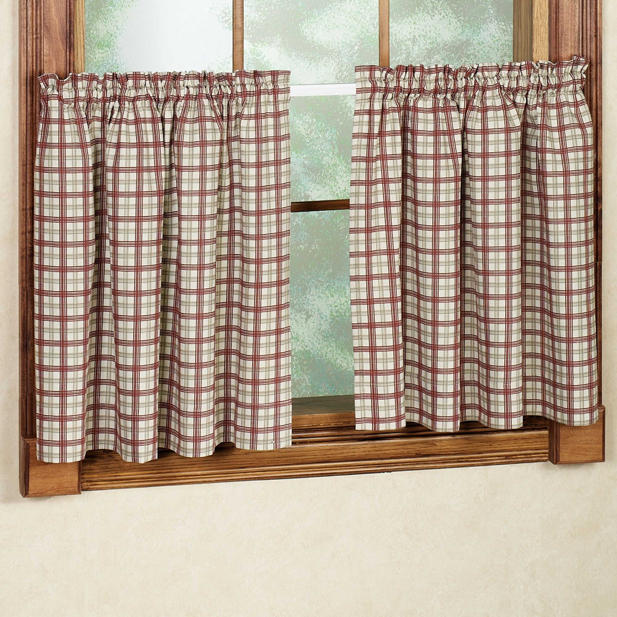 Bristol Plaid Tailored Tier Window Treament