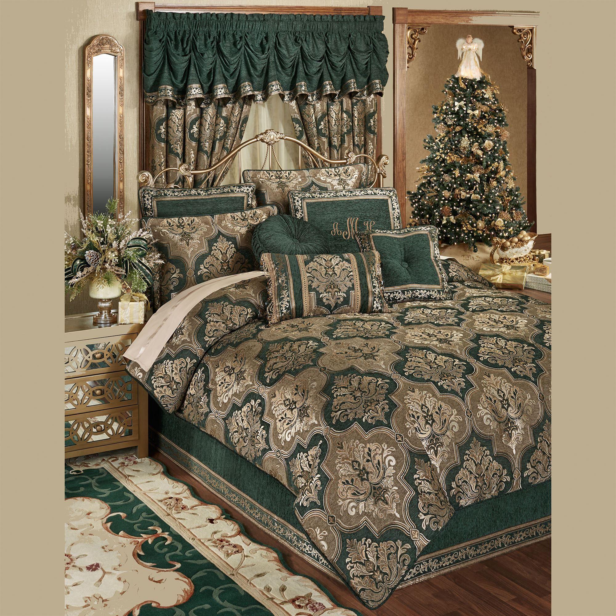 Marietta Emerald Green Damask Quatrefoil Comforter Bedding