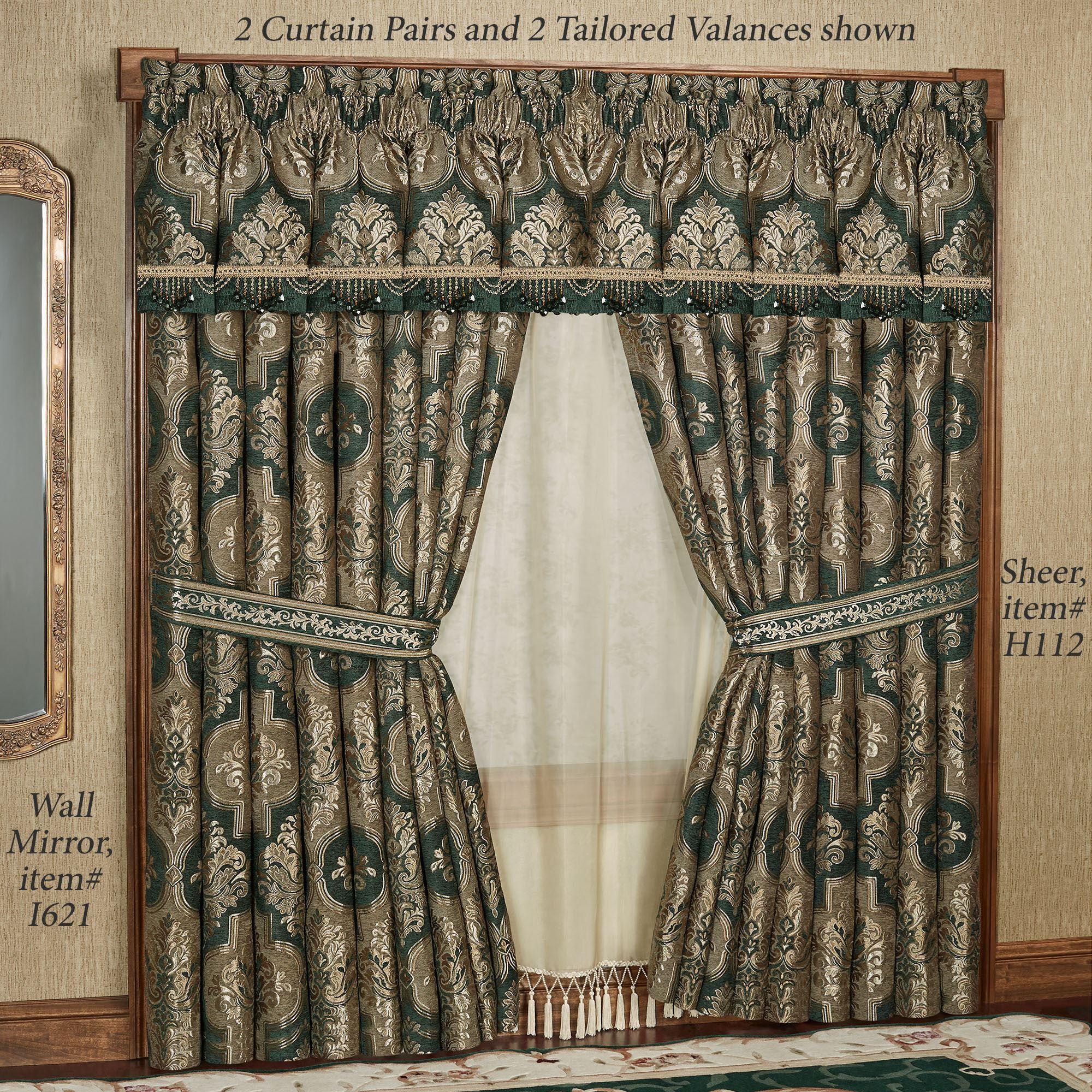 Marietta Emerald Green Damask Quatrefoil Tailored Window Treatment