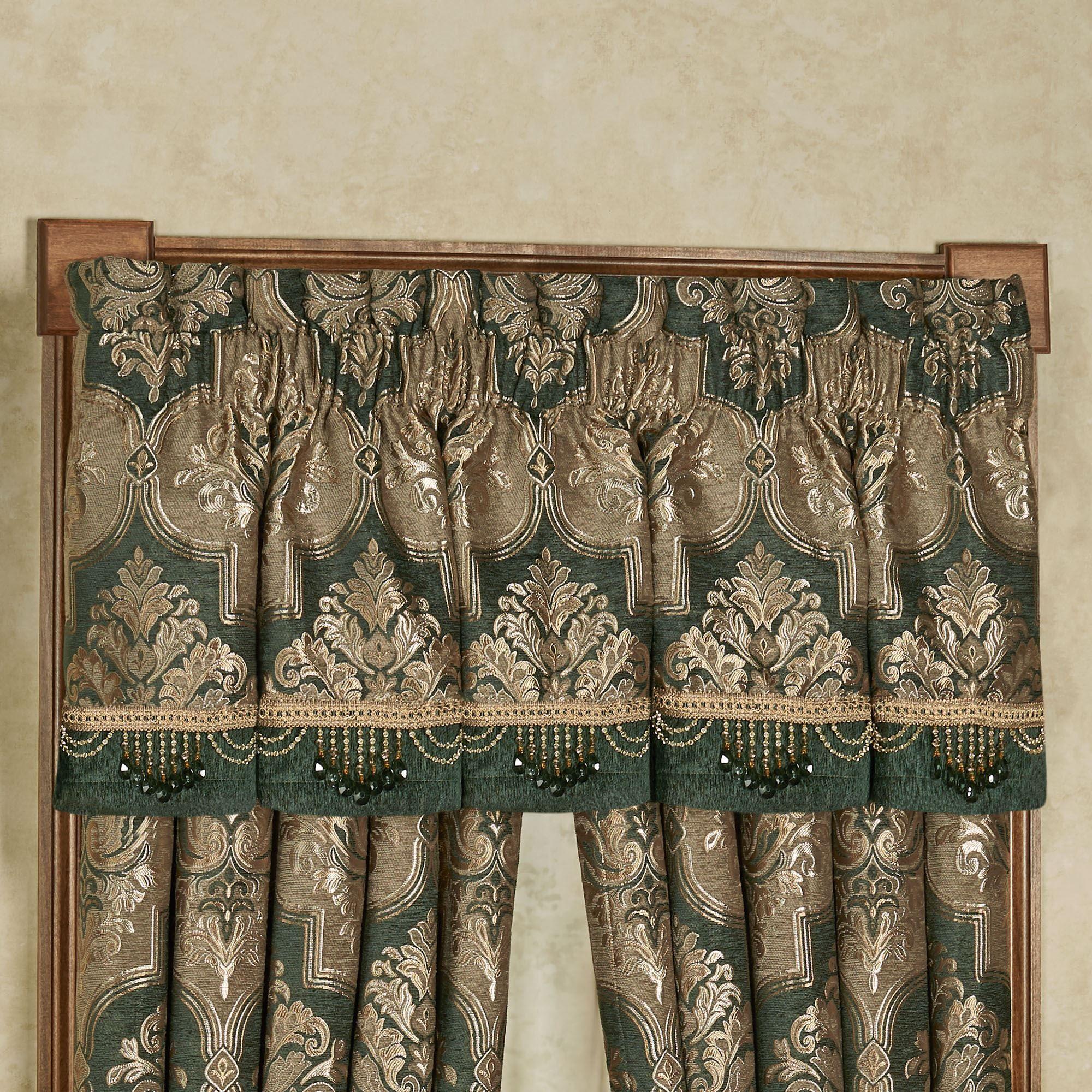 Marietta Emerald Green Damask Quatrefoil Tailored Window