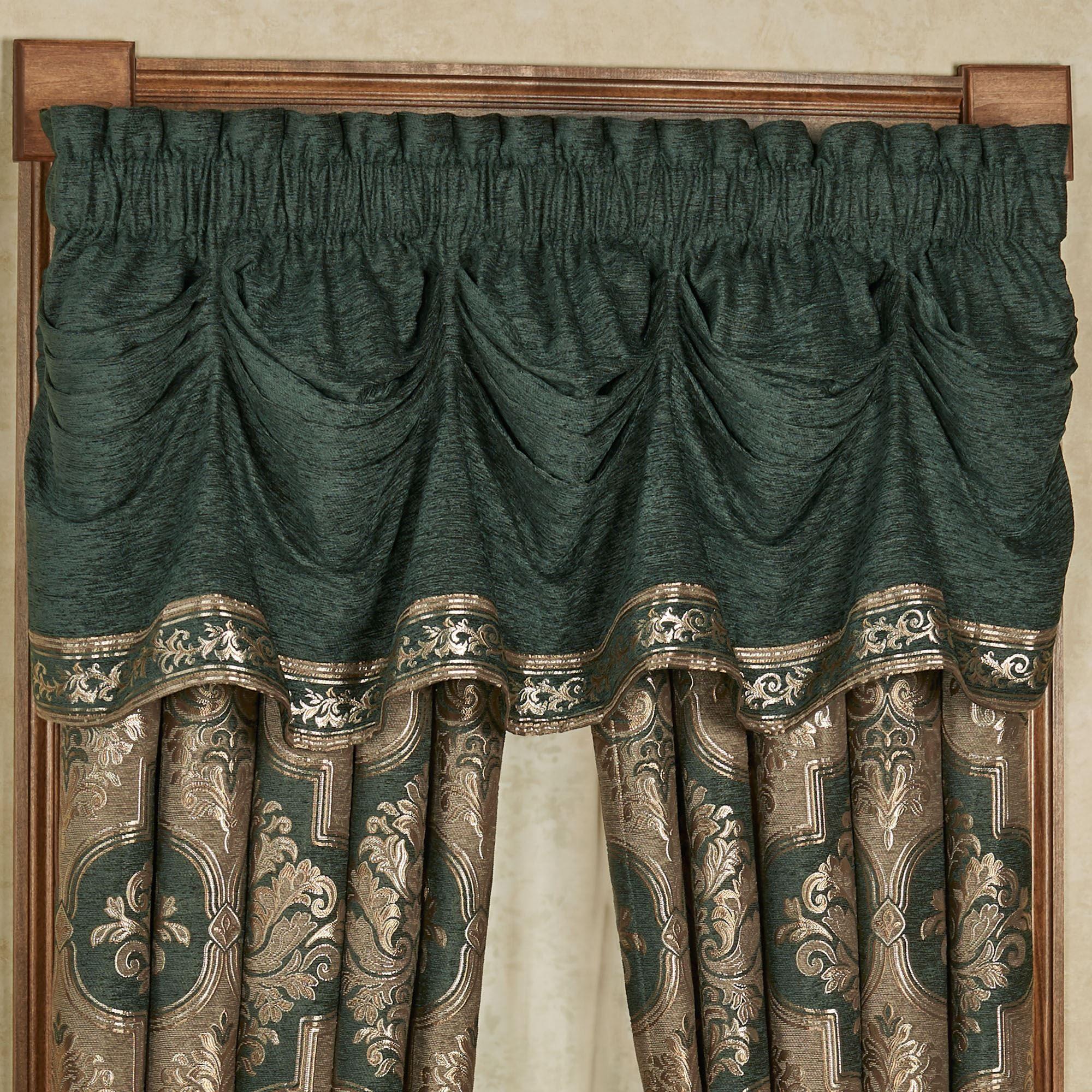 Marietta Emerald Green Tuck Valance Window Treatment