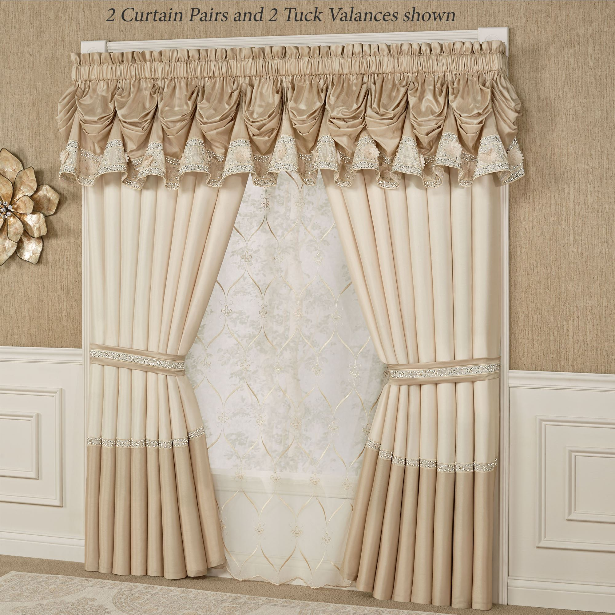 Elegant Kitchen Curtains Valances: Elegante Sequined Tuck Valance Window Treatment