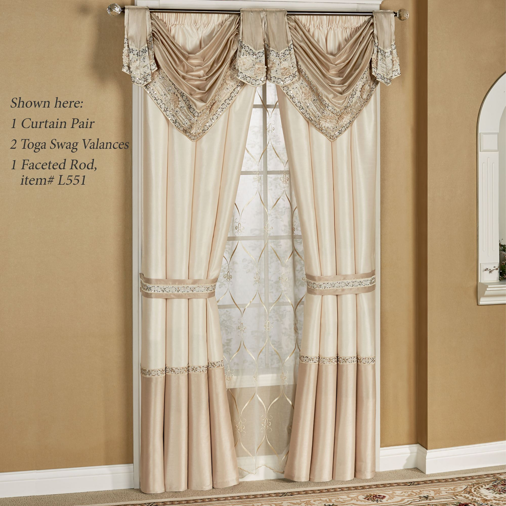 Elegante toga valance faux silk window treatment for Elegant windows
