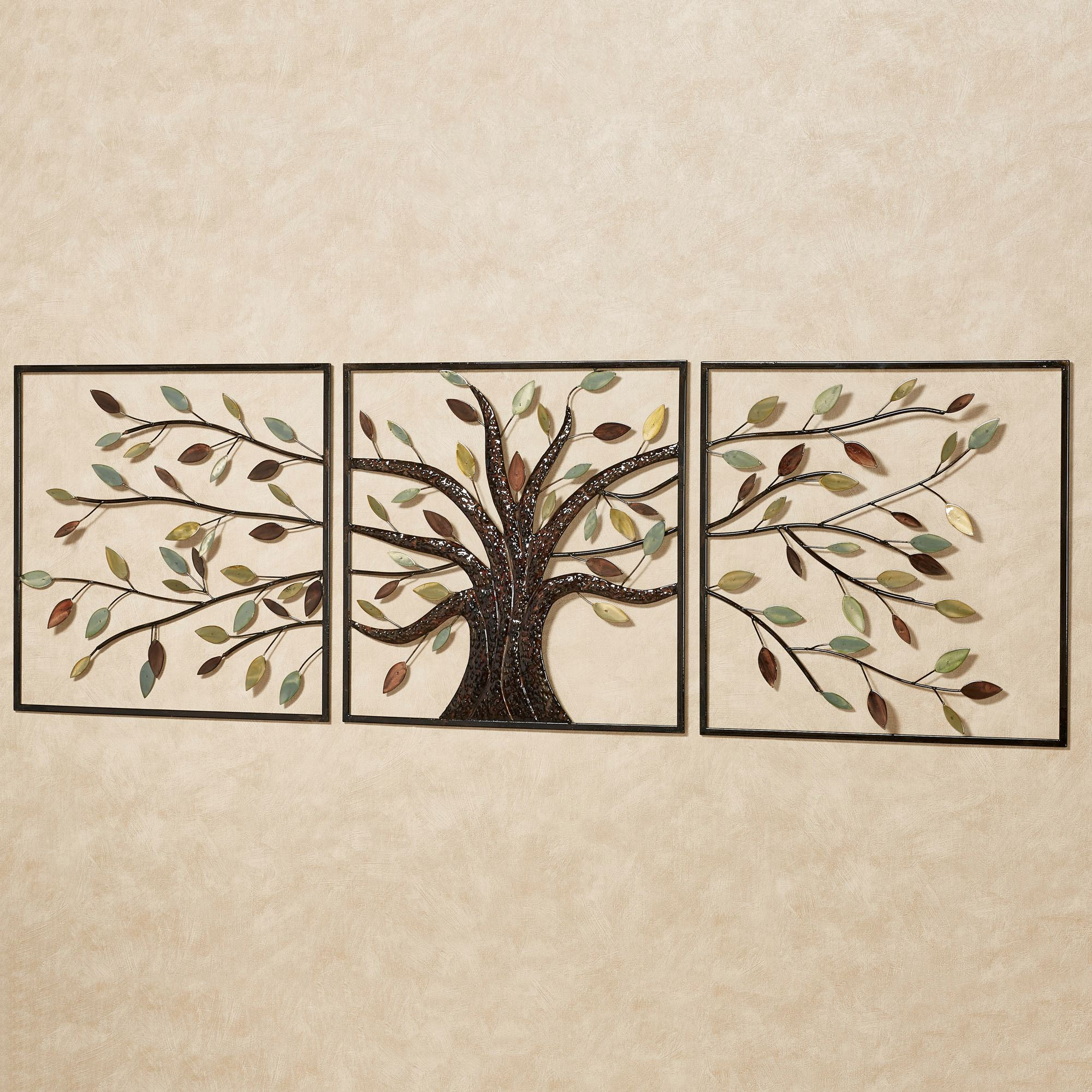 Ever changing brown tree metal wall art set for Art wall decoration