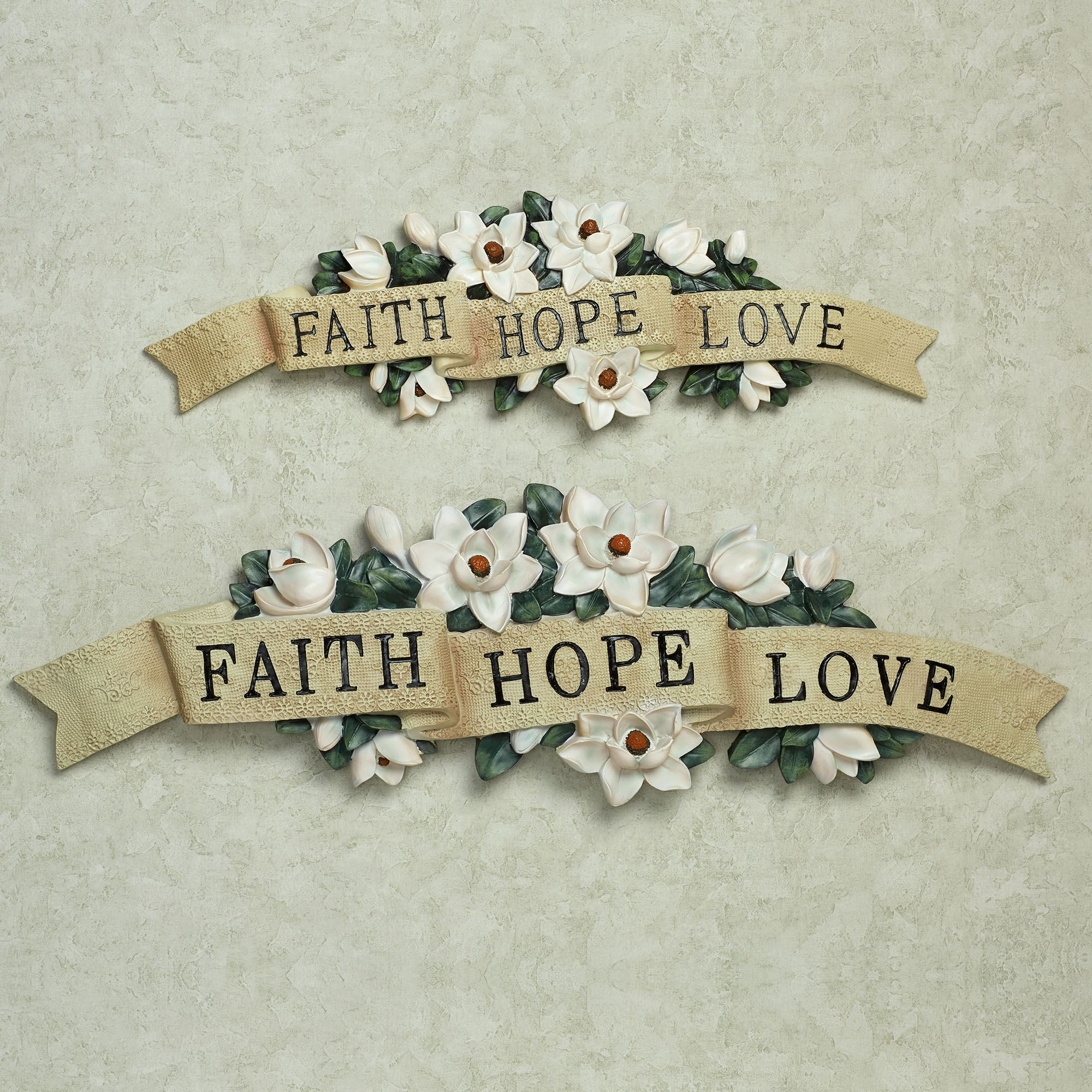 Wall plaques touch of class magnolia faith hope love wall accent buycottarizona
