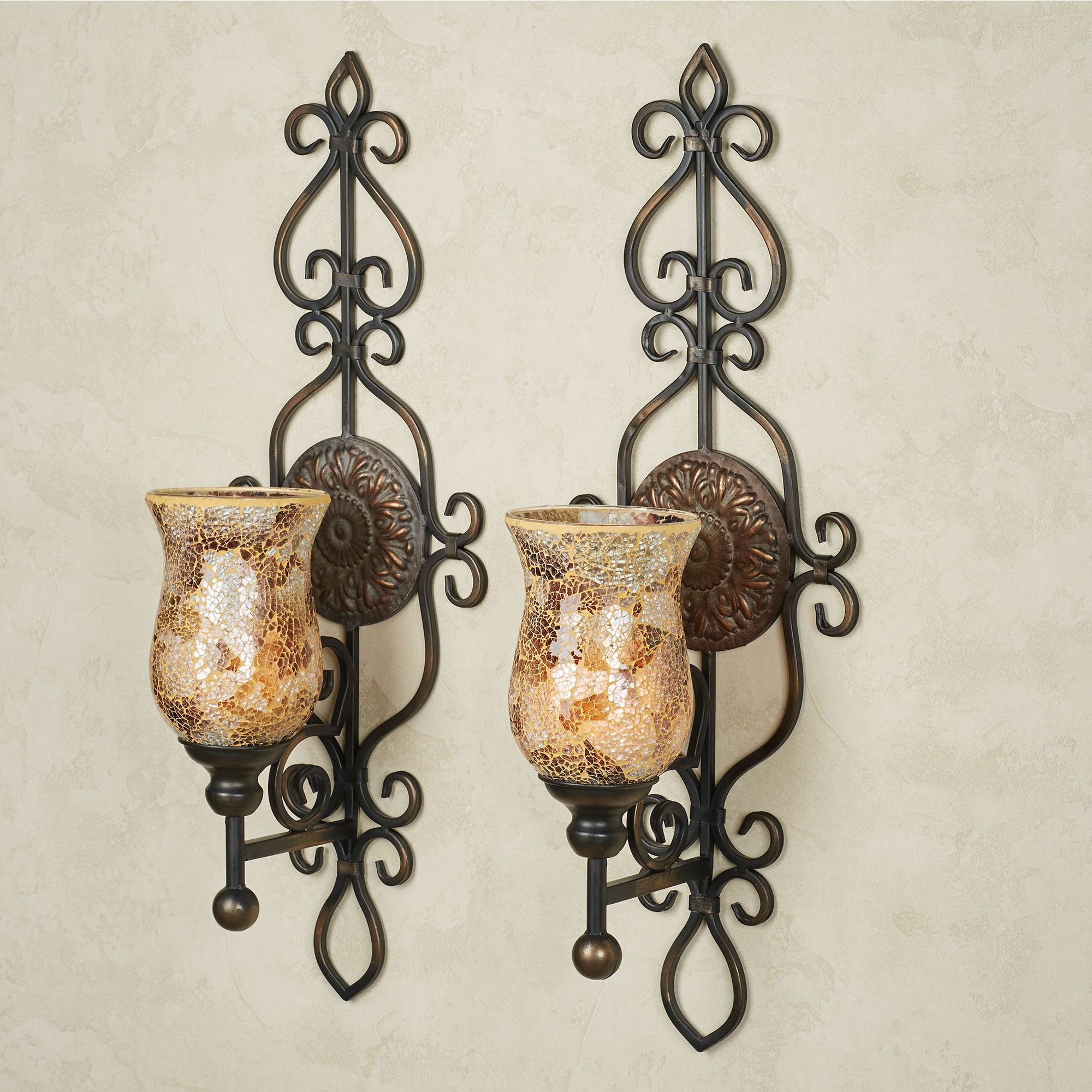 Wall sconces wall candleholders and wall candelabras touch of leyanna mosaic aged brown wall sconce pair amipublicfo Images