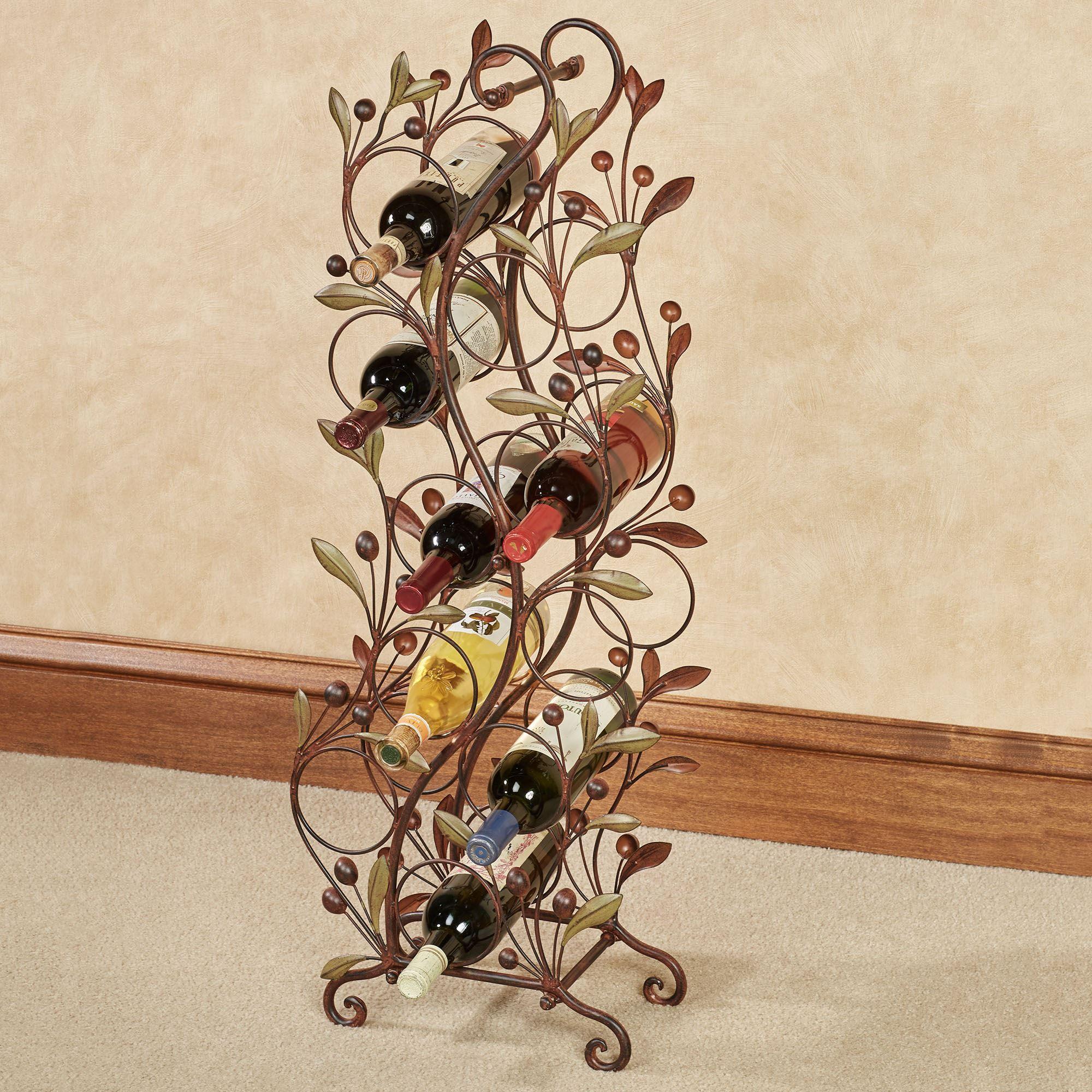 Catalonia Sage Leaf Metal Floor Wine Rack