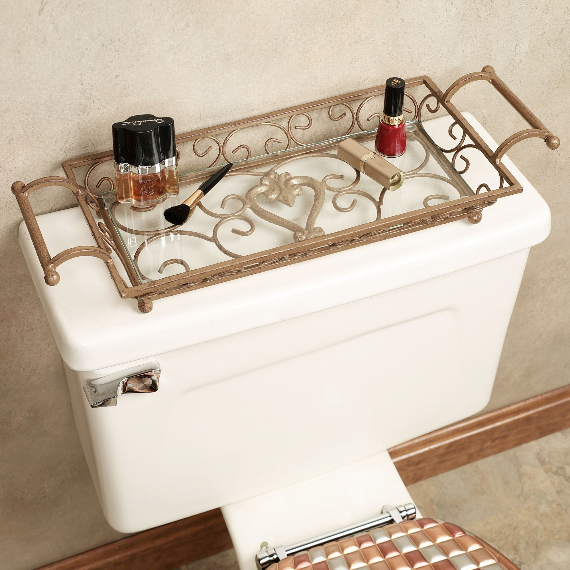 Aldabella Satin Gold Vanity Tray With Handles