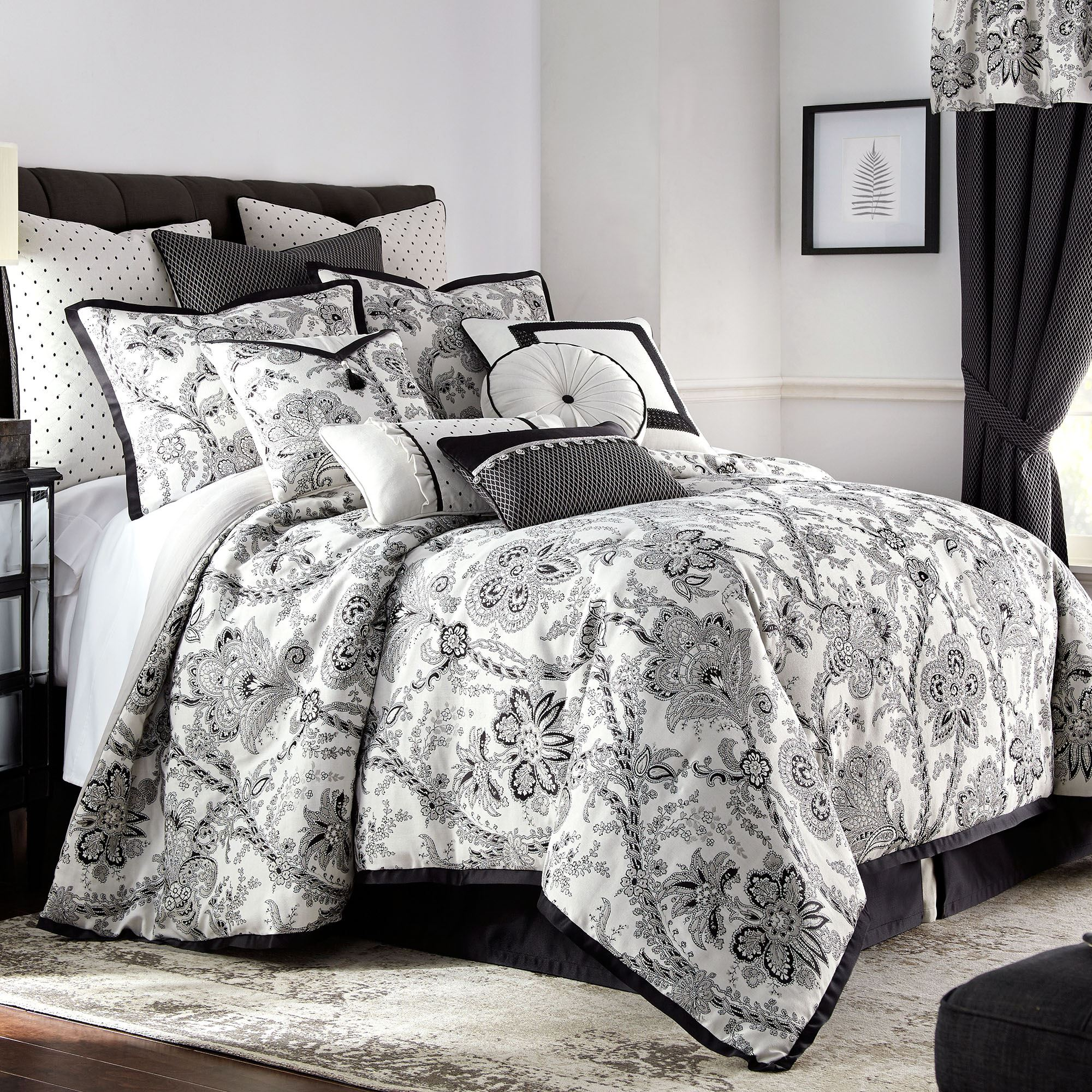 valencia black and off white jacobean floral comforter bedding by rose tree. Black Bedroom Furniture Sets. Home Design Ideas
