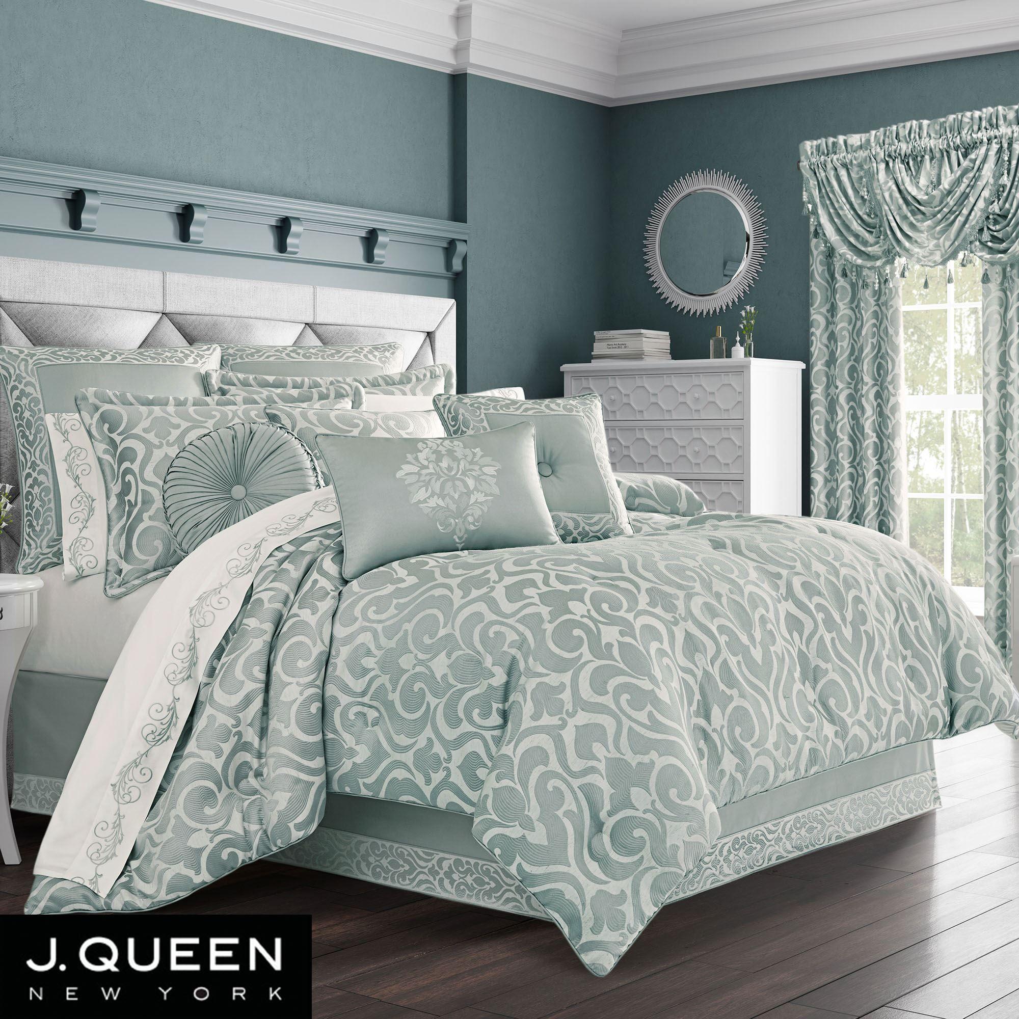 Lombardi Aqua Mist Damask Comforter Bedding By J Queen New