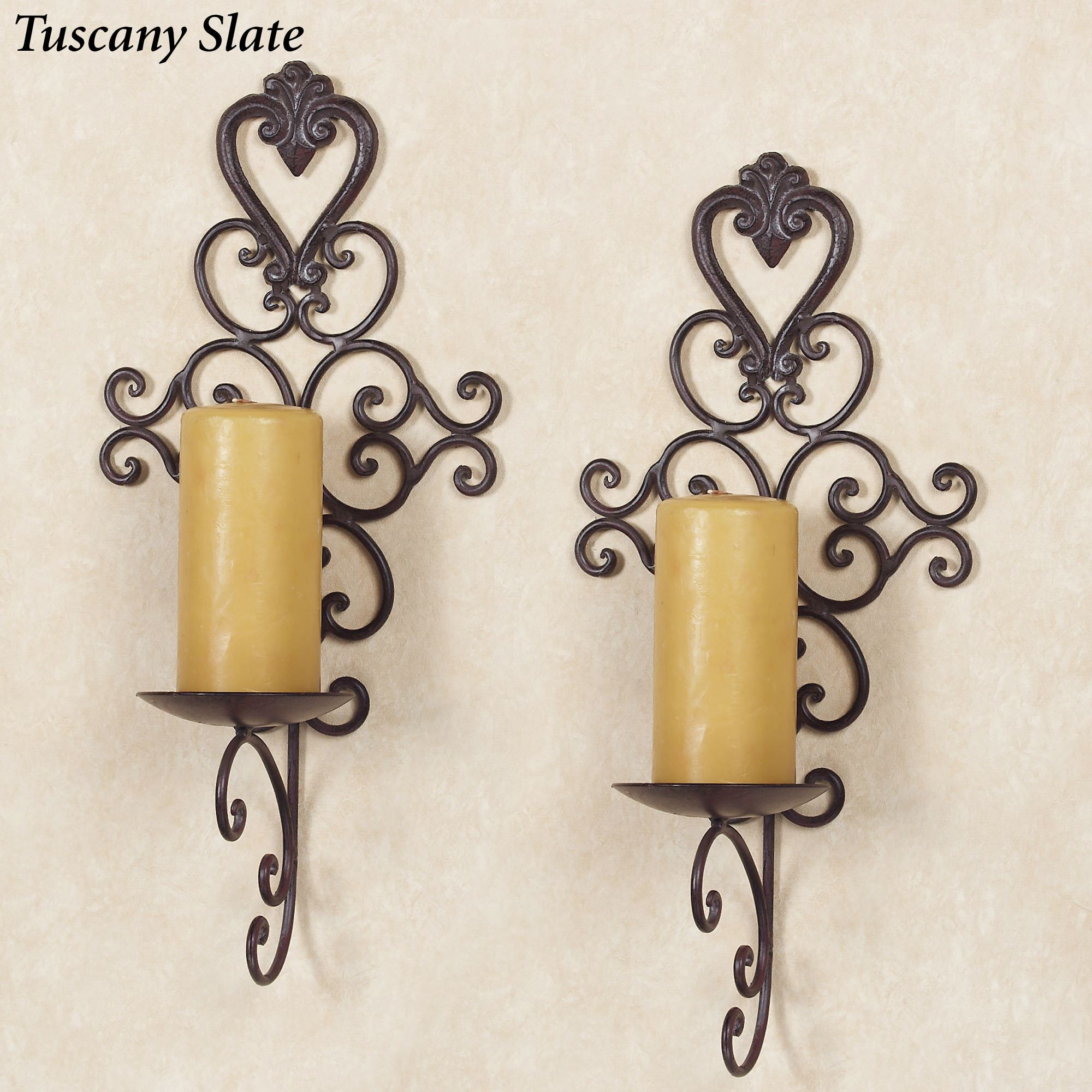 Aldabella Tuscan Slate Wall Candleholder Pair