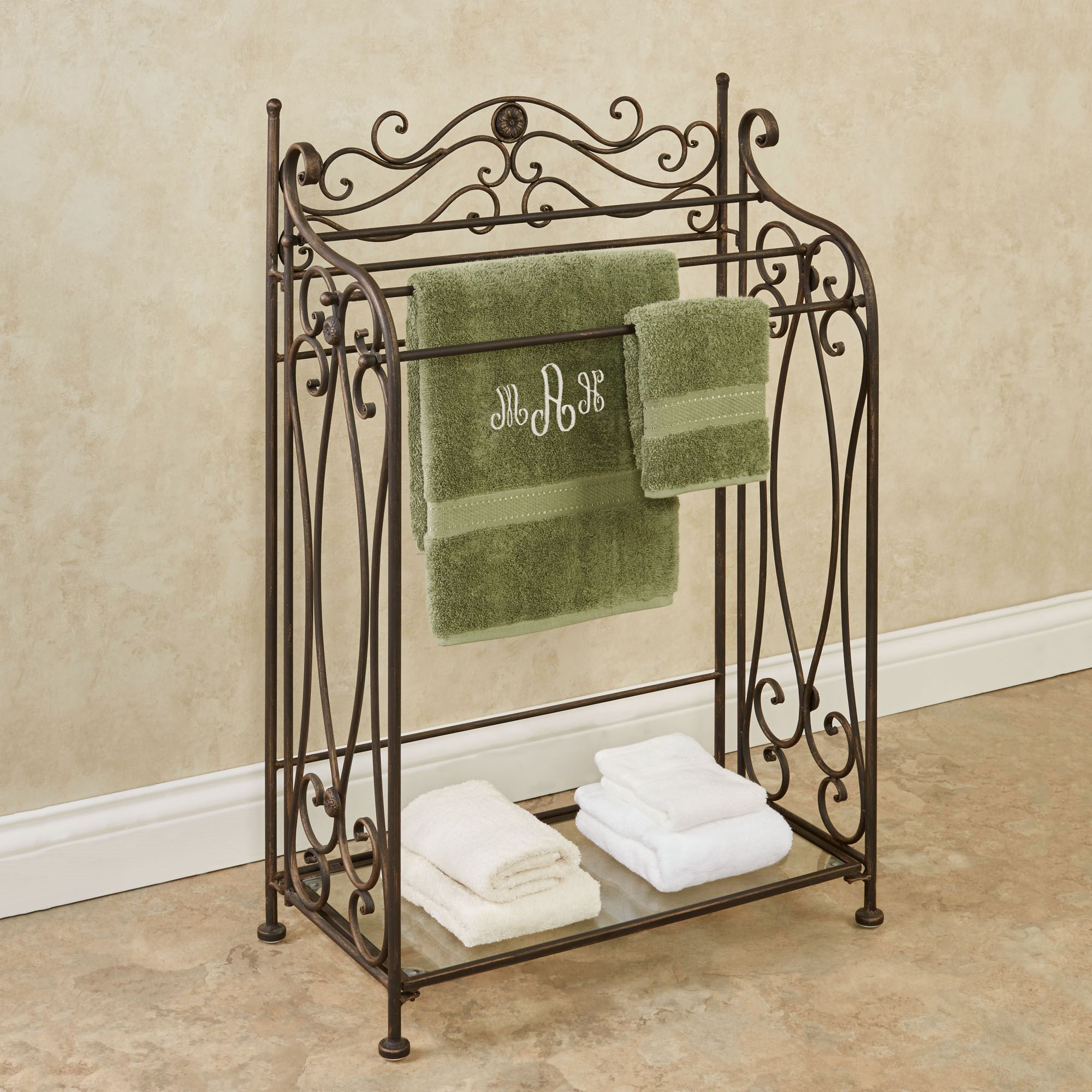 Kadalynn Antique Bronze Bath Towel Rack Stand