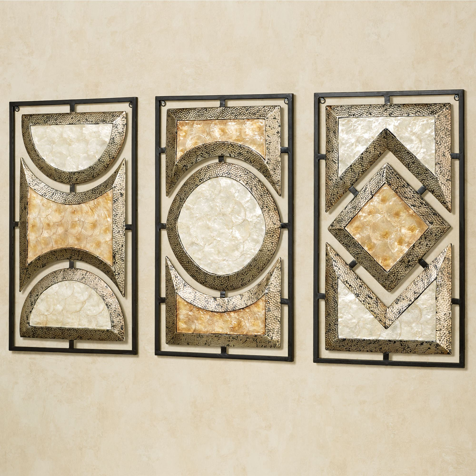 Pasquale Capiz Shell Metal Wall Art Set