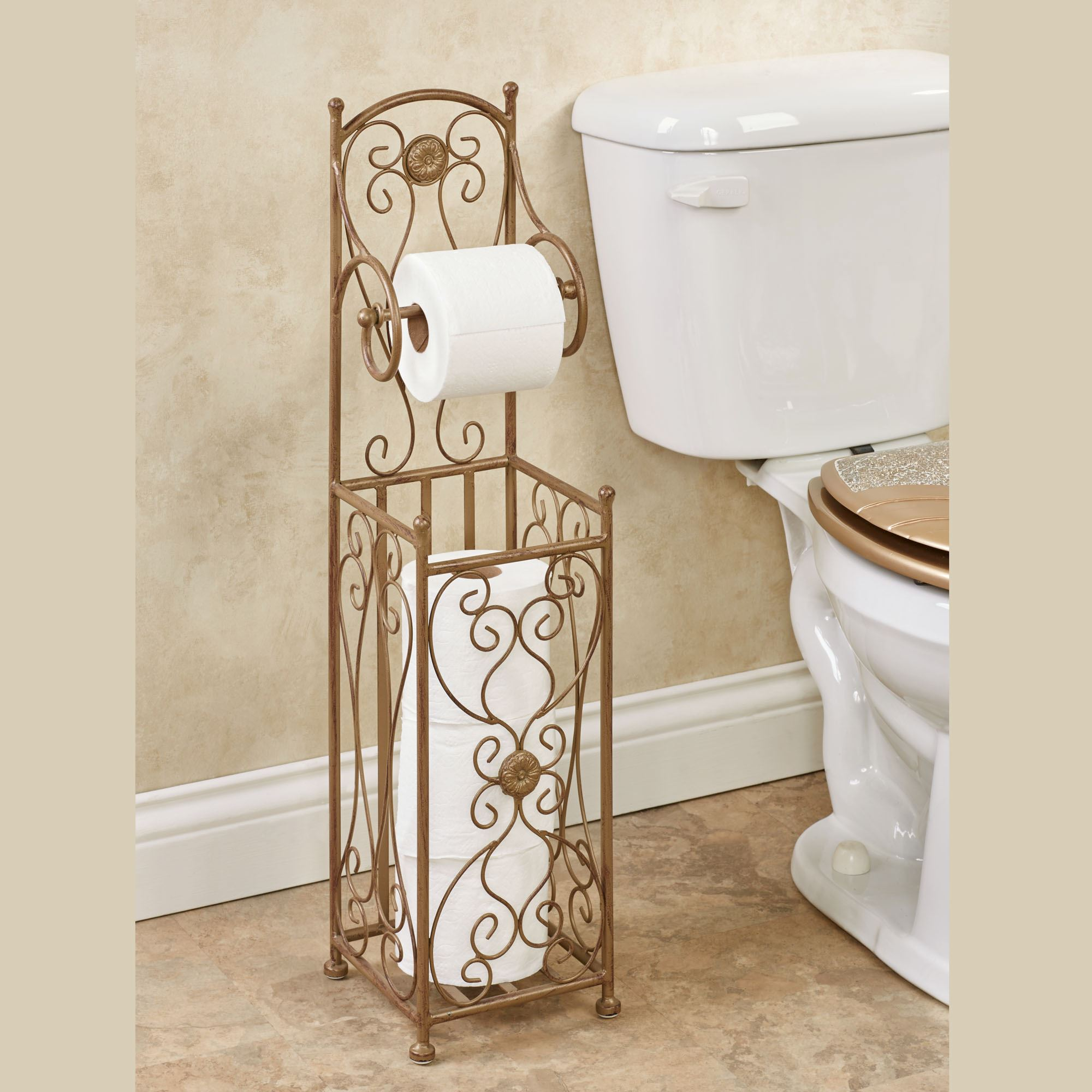 Kadalynn Toilet Paper Stand Satin Gold Touch To Zoom
