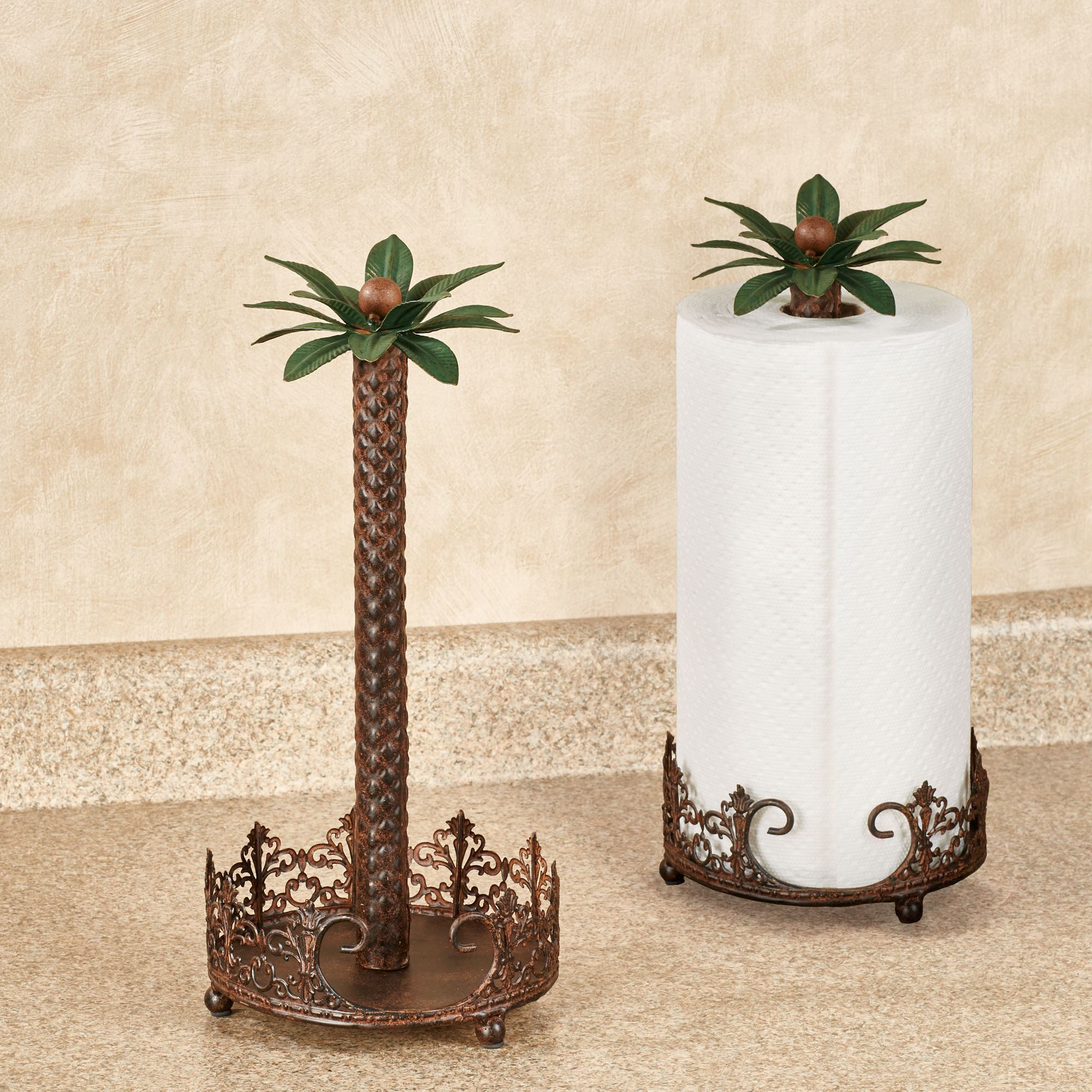 Oasis Palm Metal Paper Towel Holder