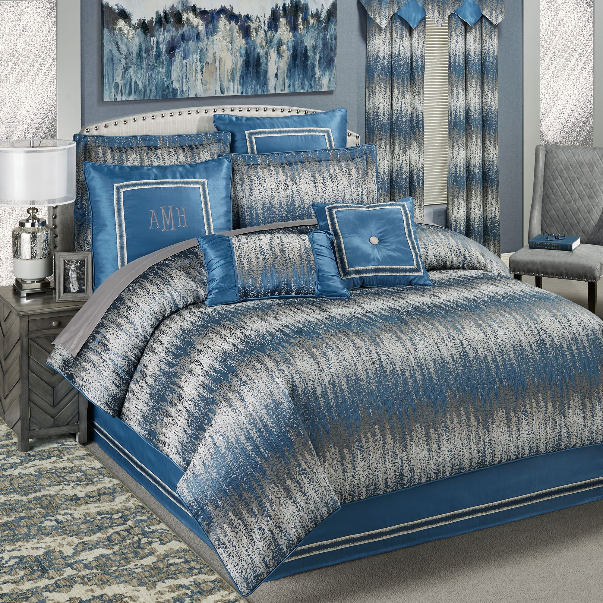 Seleca Blue And Silver Gray Modern Abstract Comforter Bedding