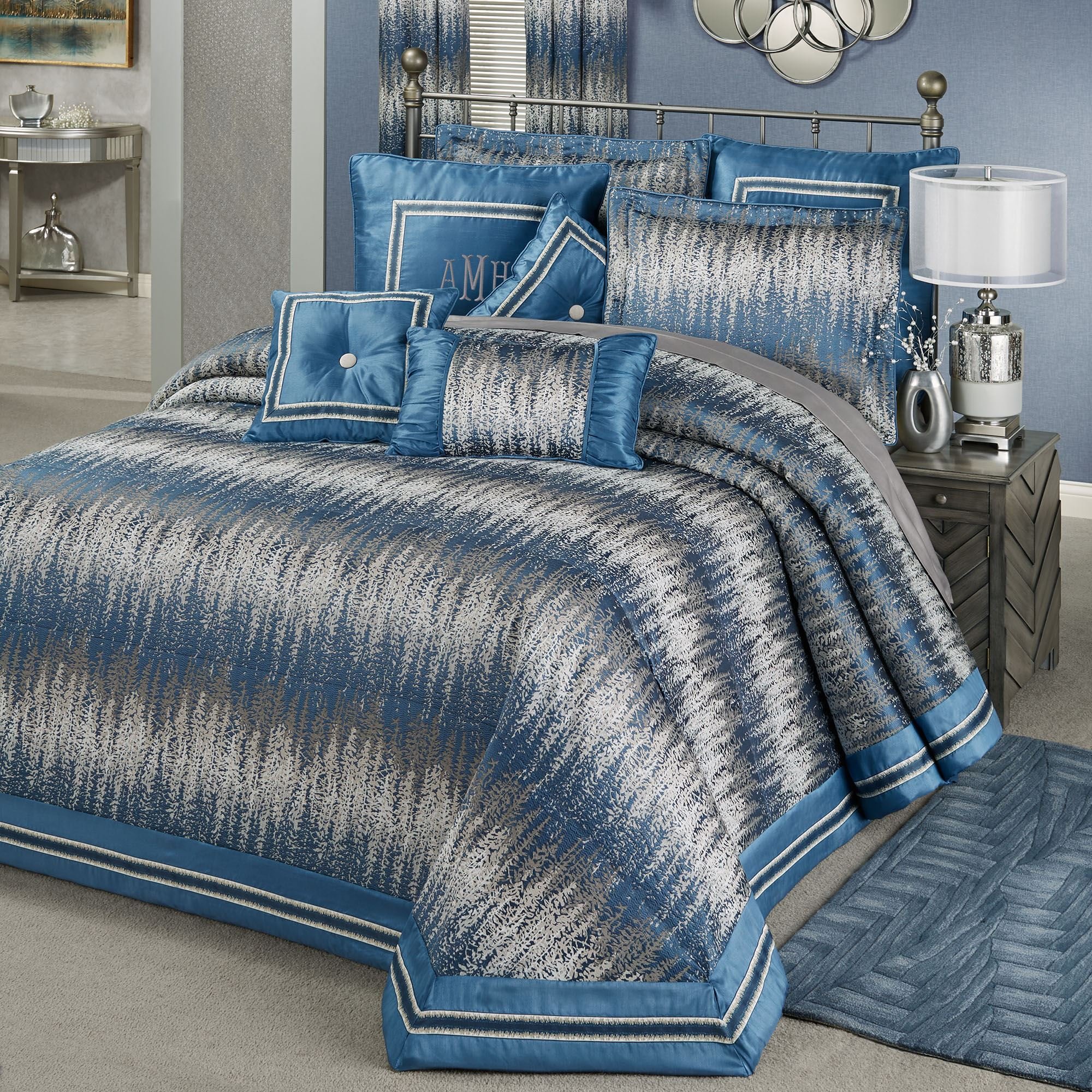 Seleca Blue And Silver Gray Modern Abstract Oversized Bedspread Bedding
