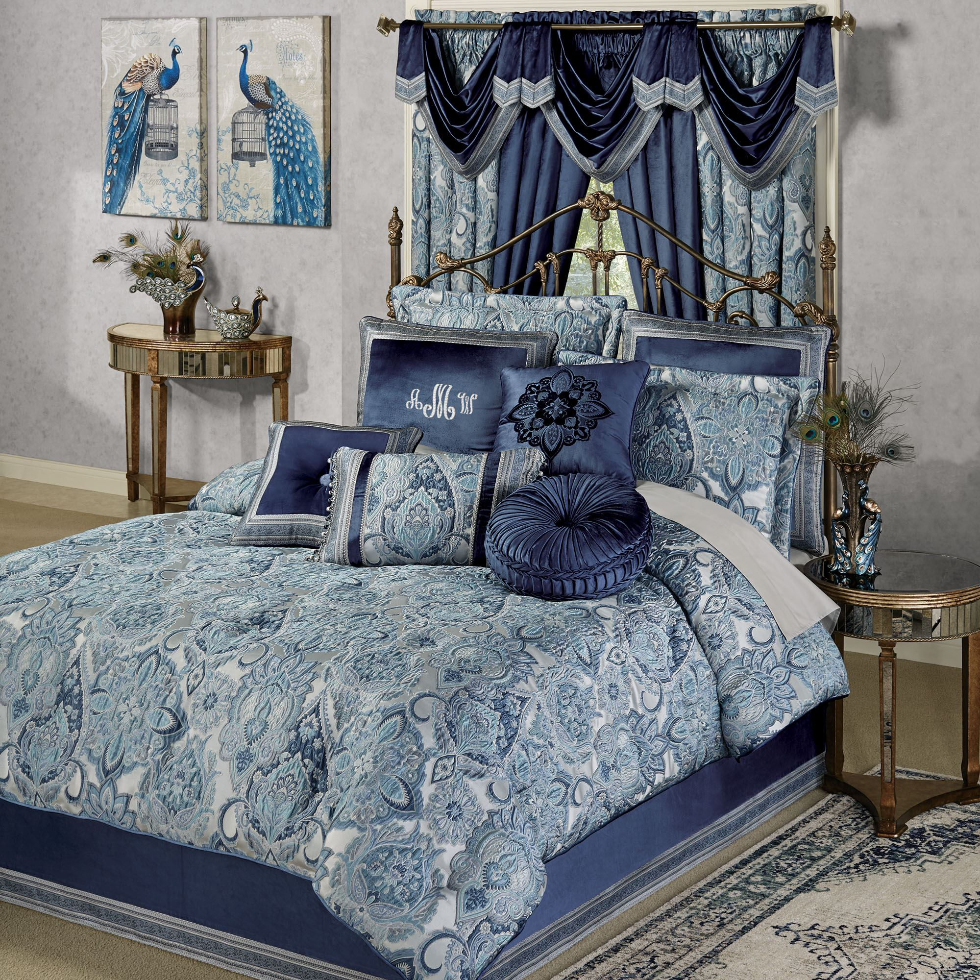 Yorkshire Jacobean Damask Queen Size Comforter Bedding