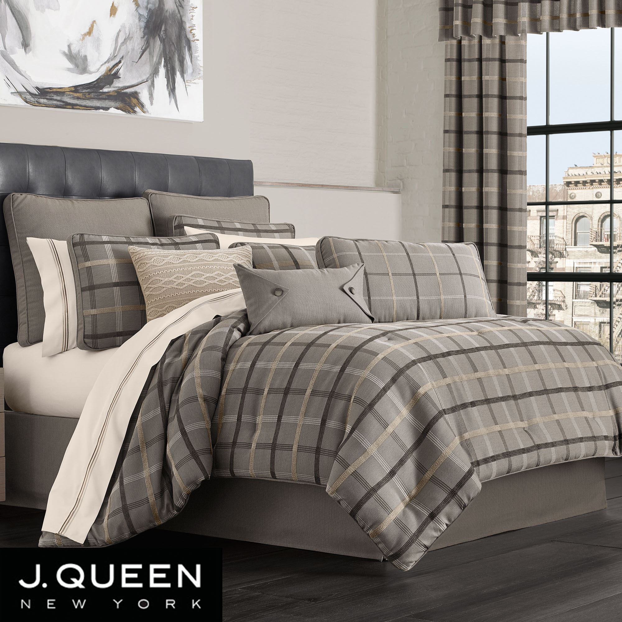 Sutton Gray Plaid Comforter Bedding By J Queen New York