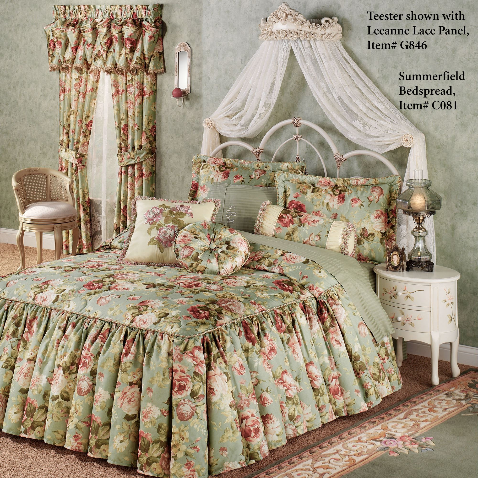 Victoria Rose Antique Ivory Wall Teester Bed Crown
