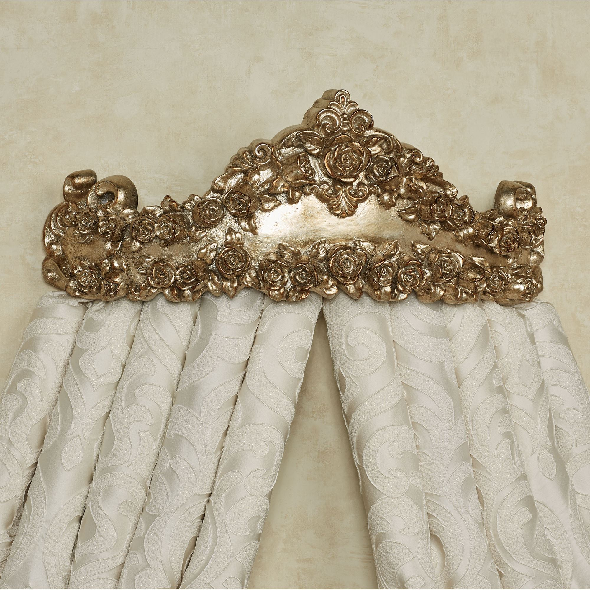 Victoria Rose Antique Gold Wall Teester Bed Crown