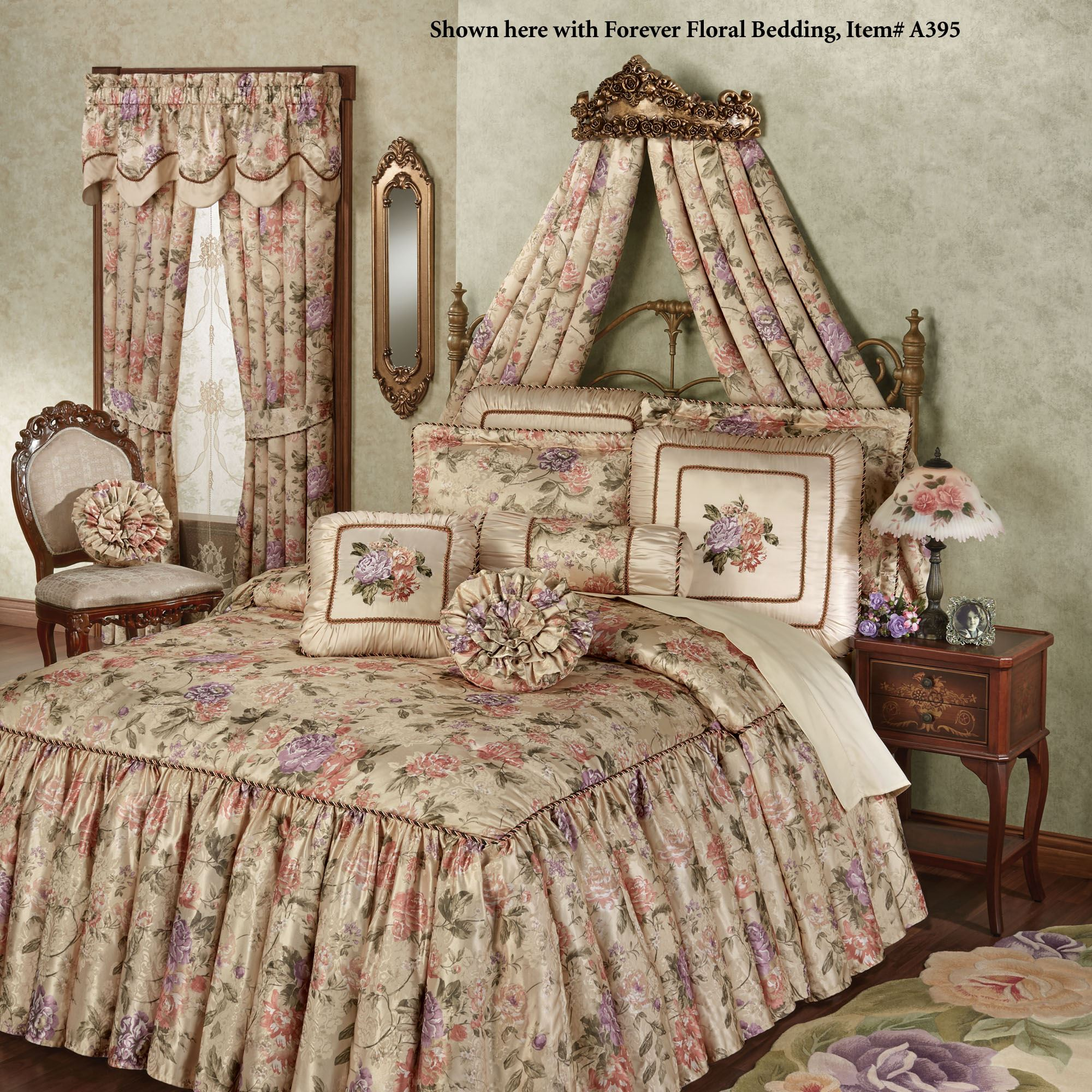 Victoria Rose Tarnished Gold Wall Teester Bed Crown