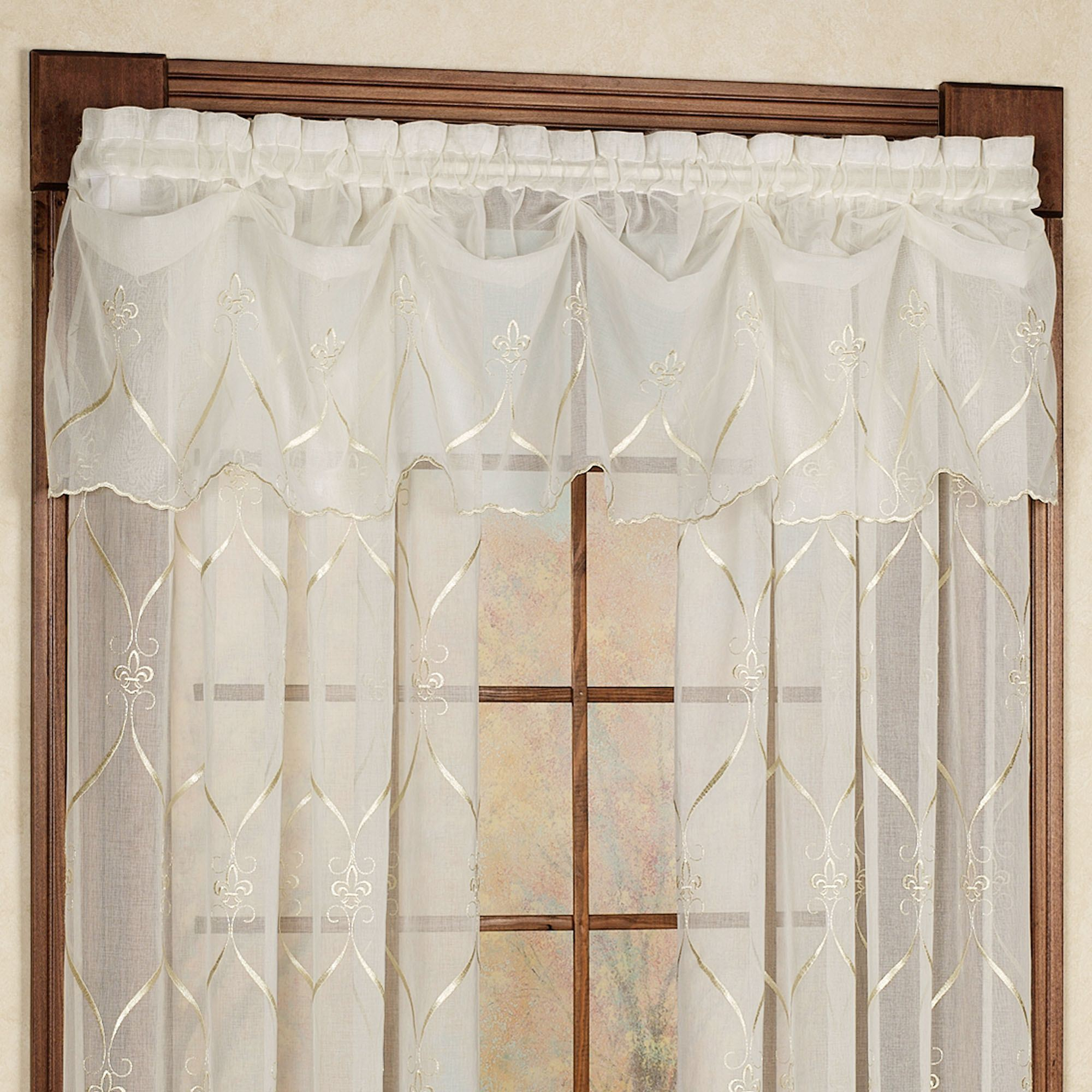 with drapes white curtain creamy hello kitty swags itm sheer pleated fabric swag ivory valance