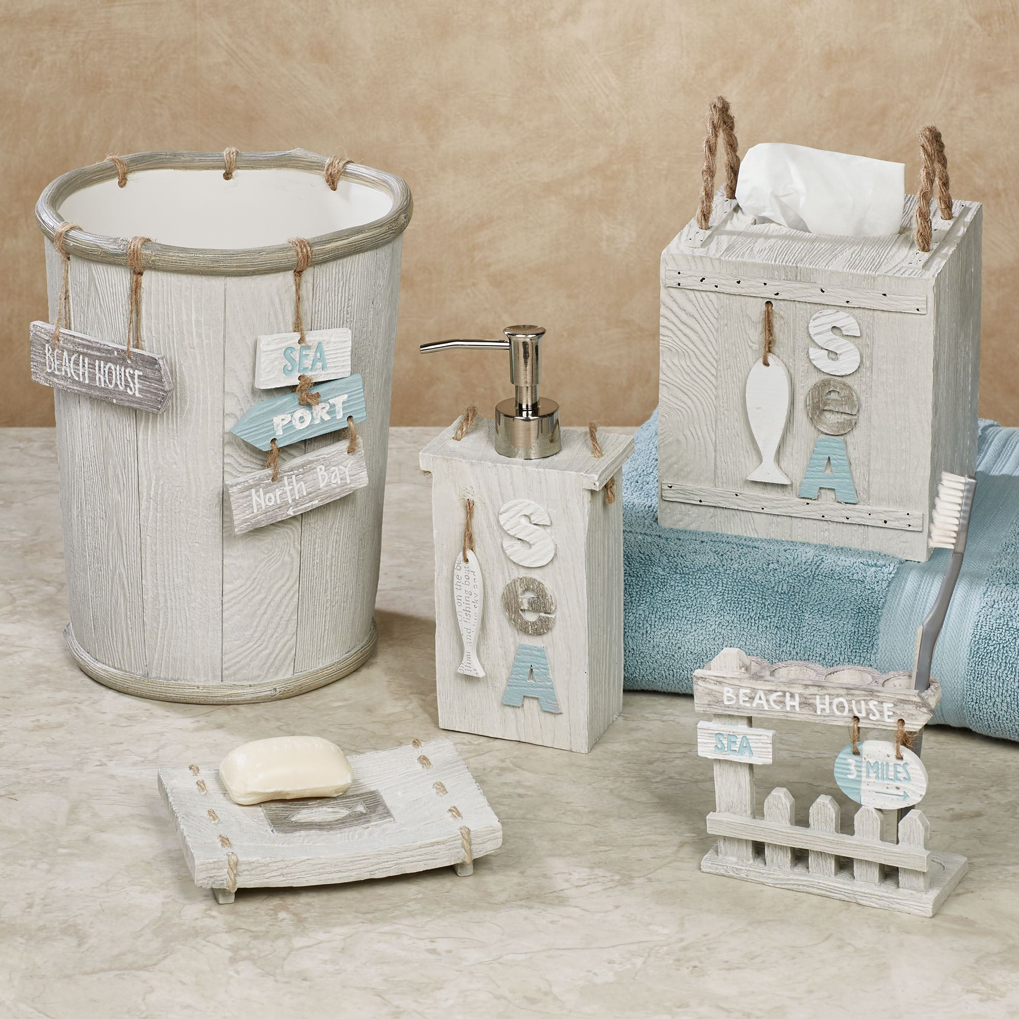 Driftwood Coastal Bath Accessories, Beach Bathroom Accessories