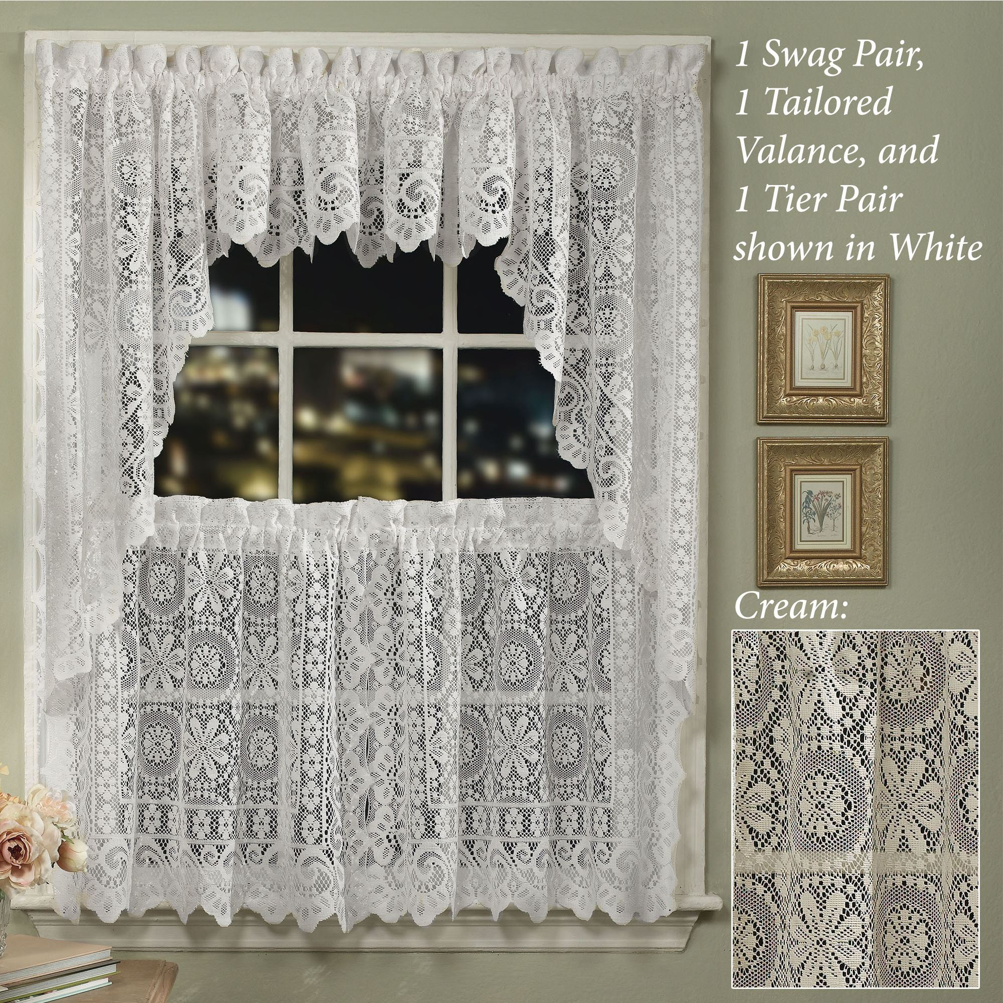 Hopewell Lace Tier Window Treatment