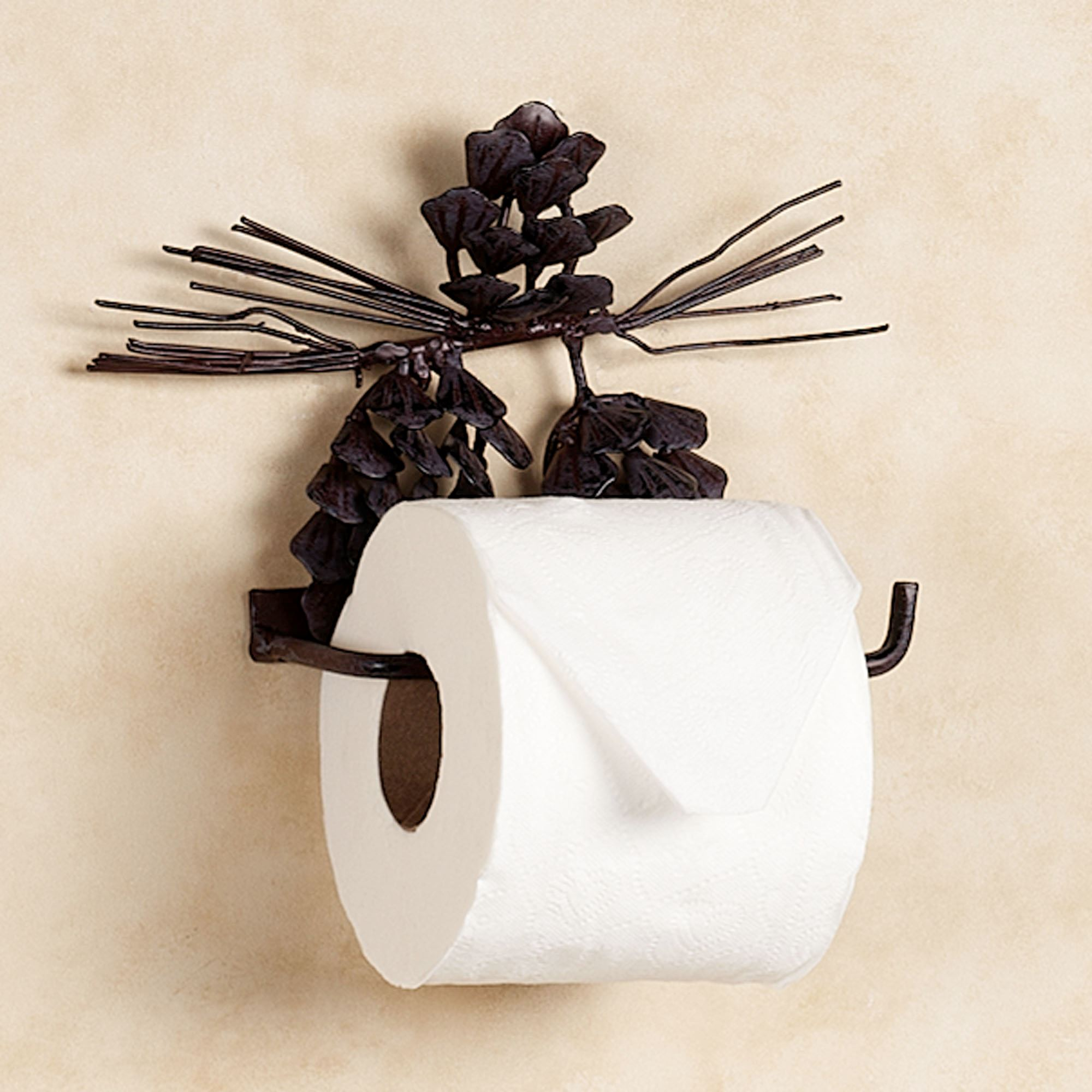 Pine Cone Toilet Paper Holder Brown