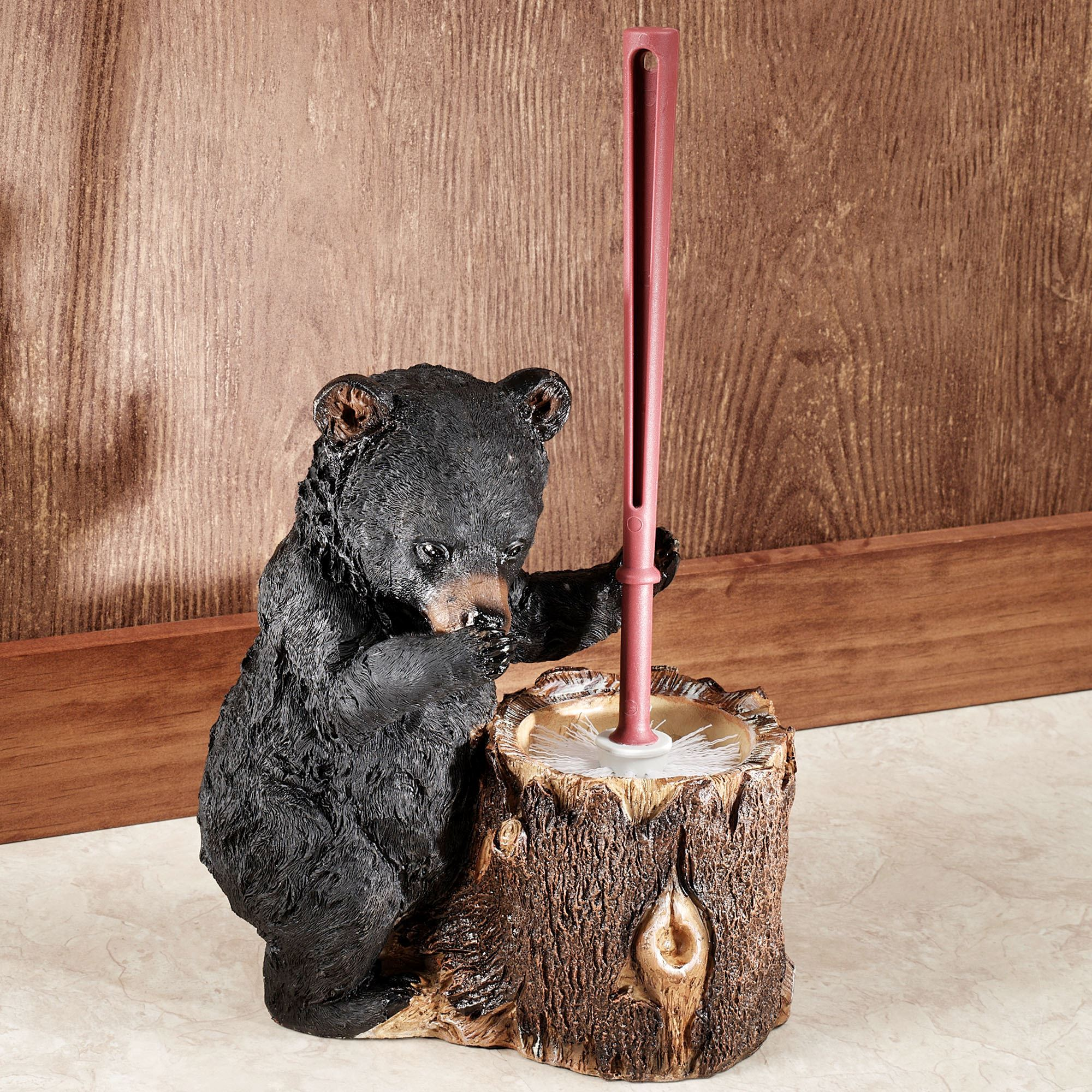 Stinkin Bear Toilet Brush Holder Black Touch To Zoom