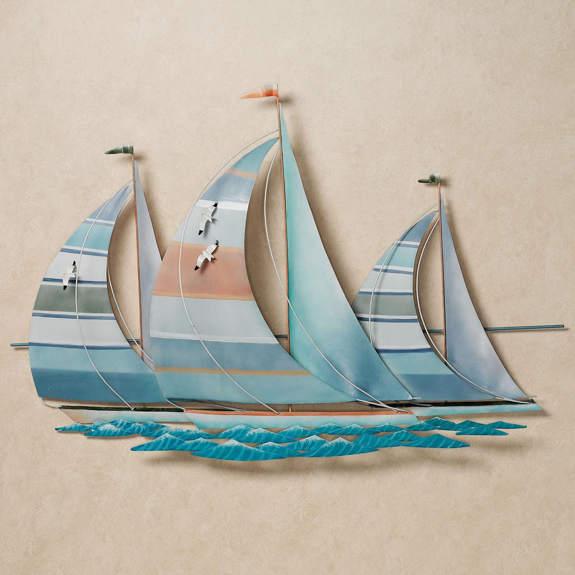 Art Décor: Regatta Finish Line Multi Cool Metal Sailboat Wall Sculpture