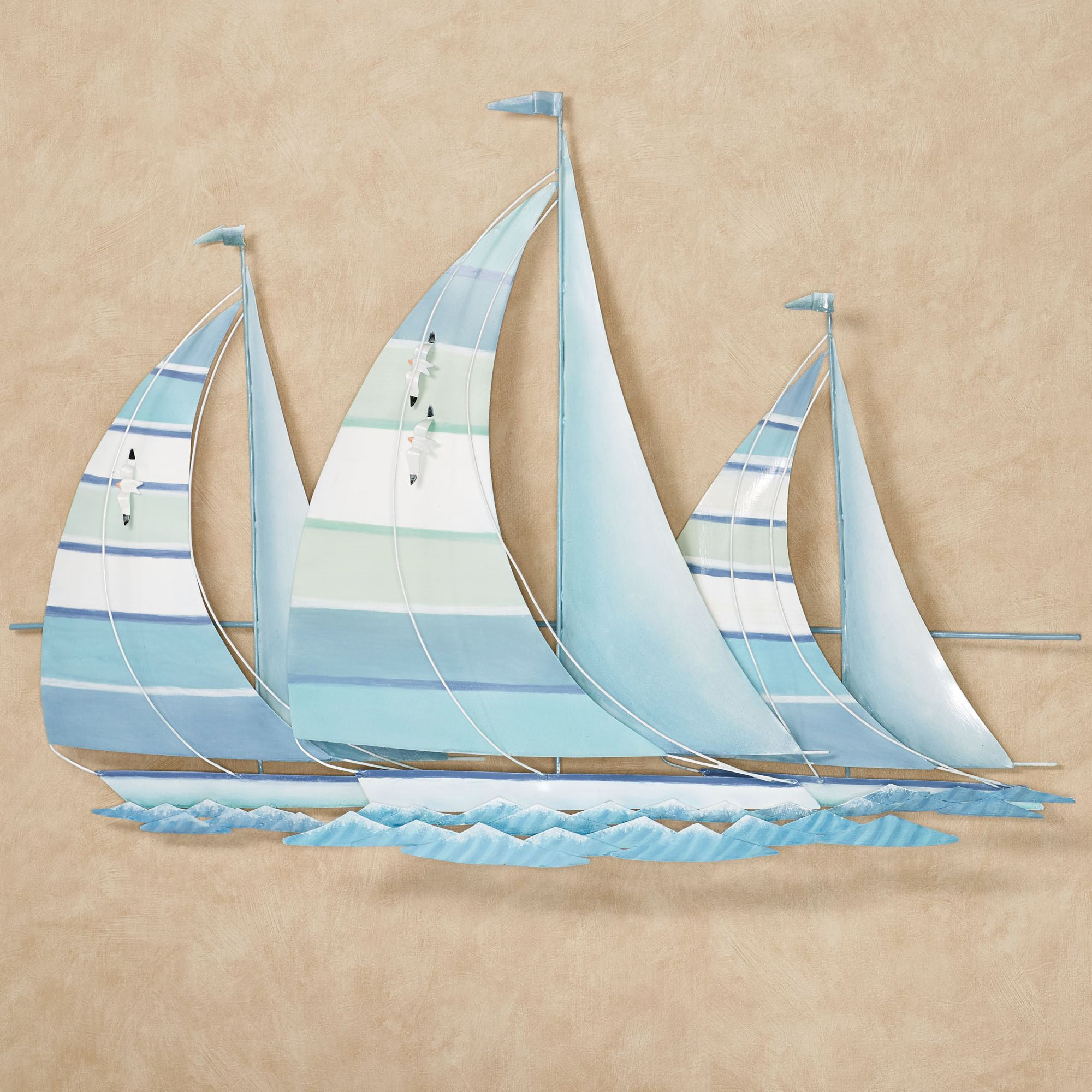 Regatta Finish Line Blue Green Metal Sailboat Wall Sculpture