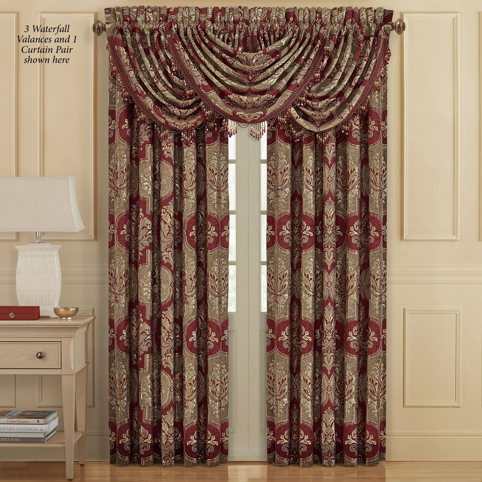 Maribella Ruby Damask Quatrefoil Window Treatment By J