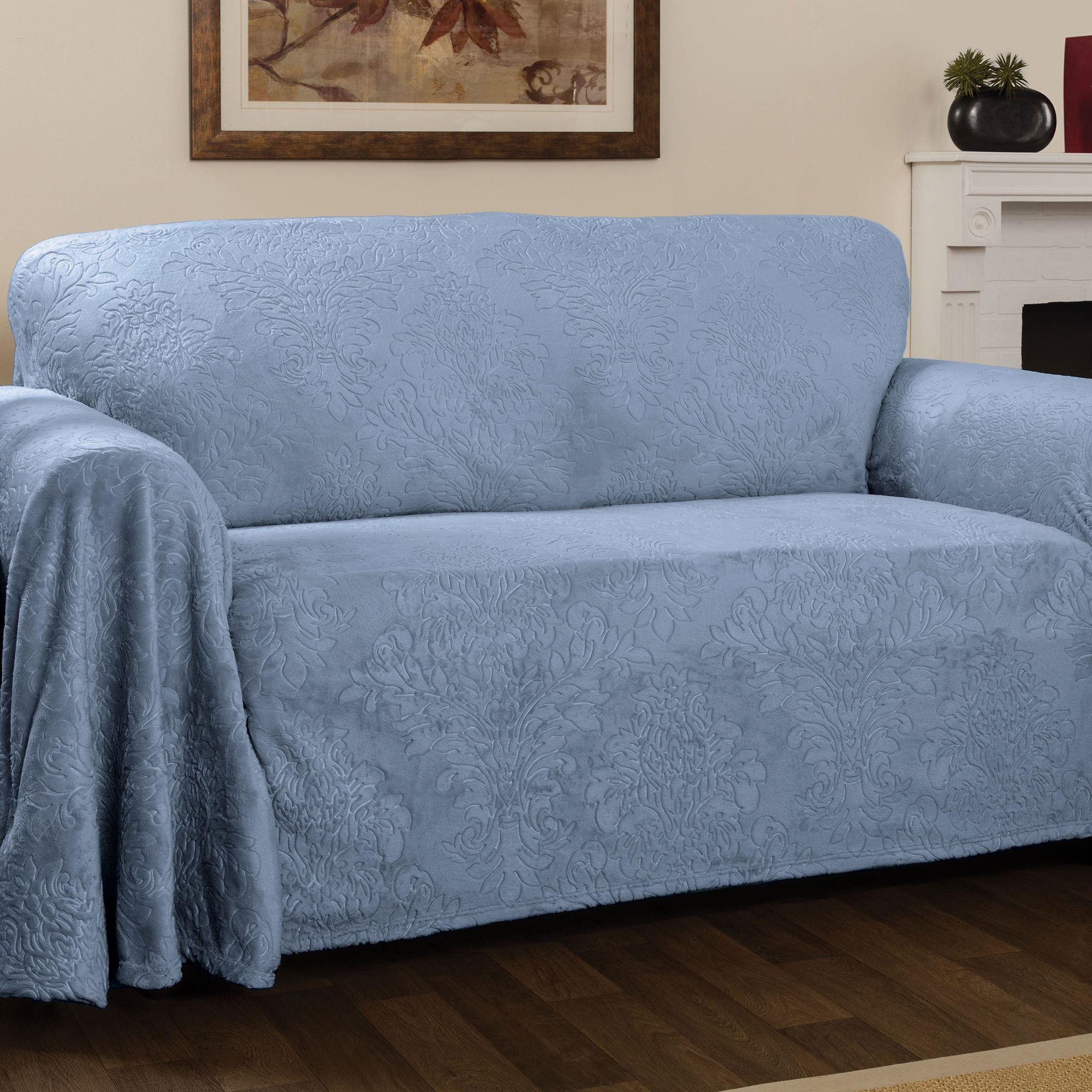 Elegant Damask Cerulean Blue Drapable Furniture Covers