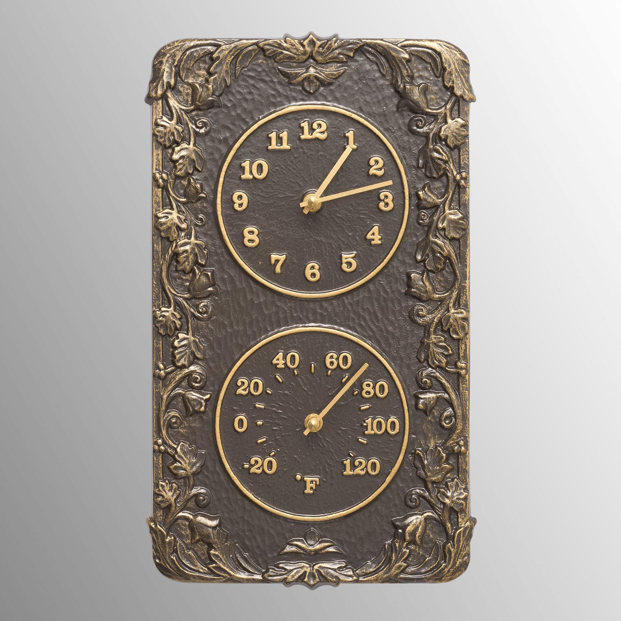 Secluded Garden Wall Clock Thermometer Bronze Touch To Zoom