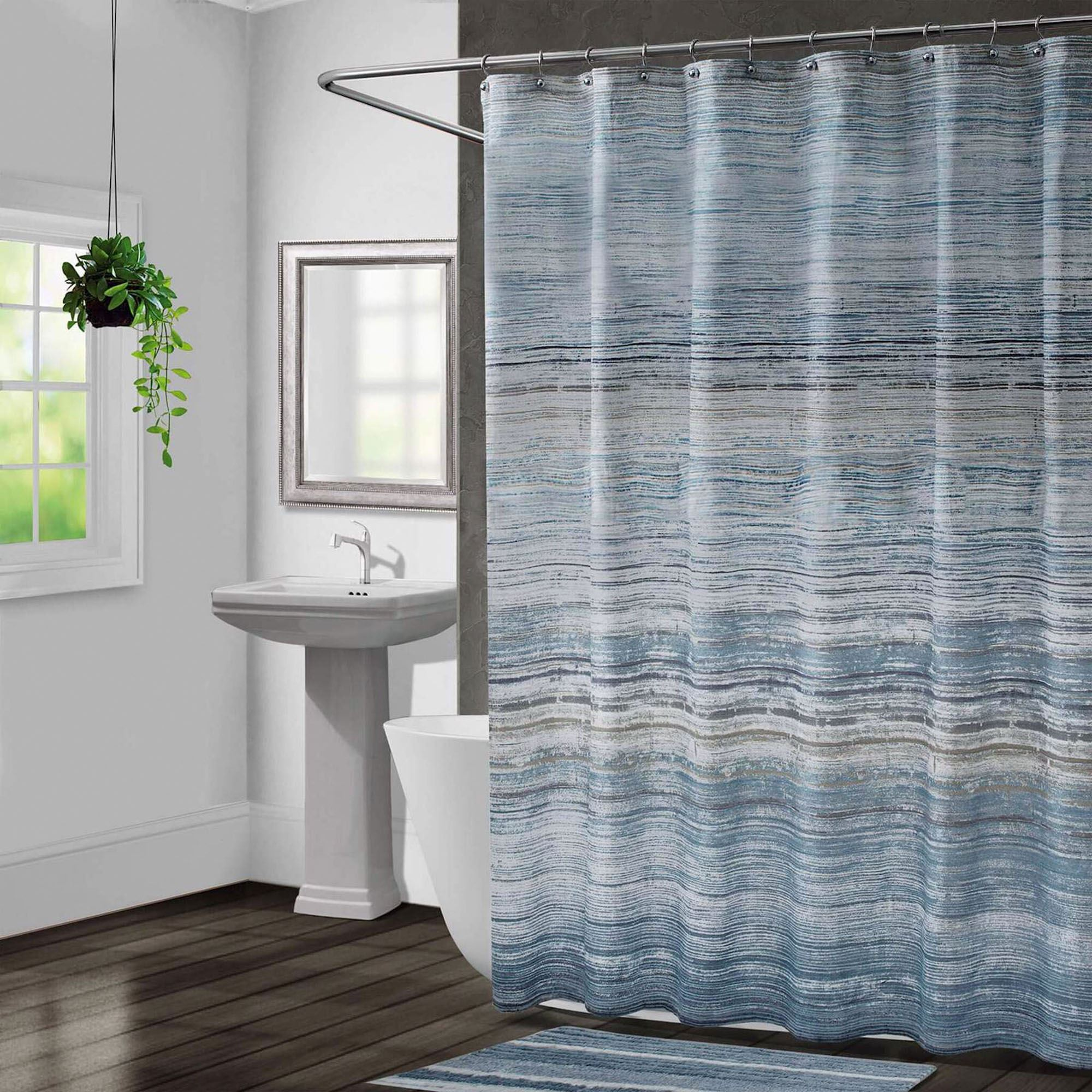 Nomad Stripe Shower Curtain Blue Shadow 72 X Touch To Zoom