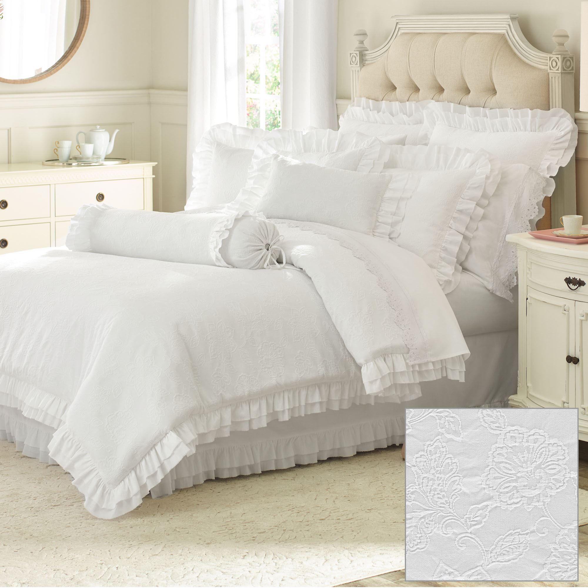 Emily White Woven Matelasse Ruffled Mini Comforter Set By