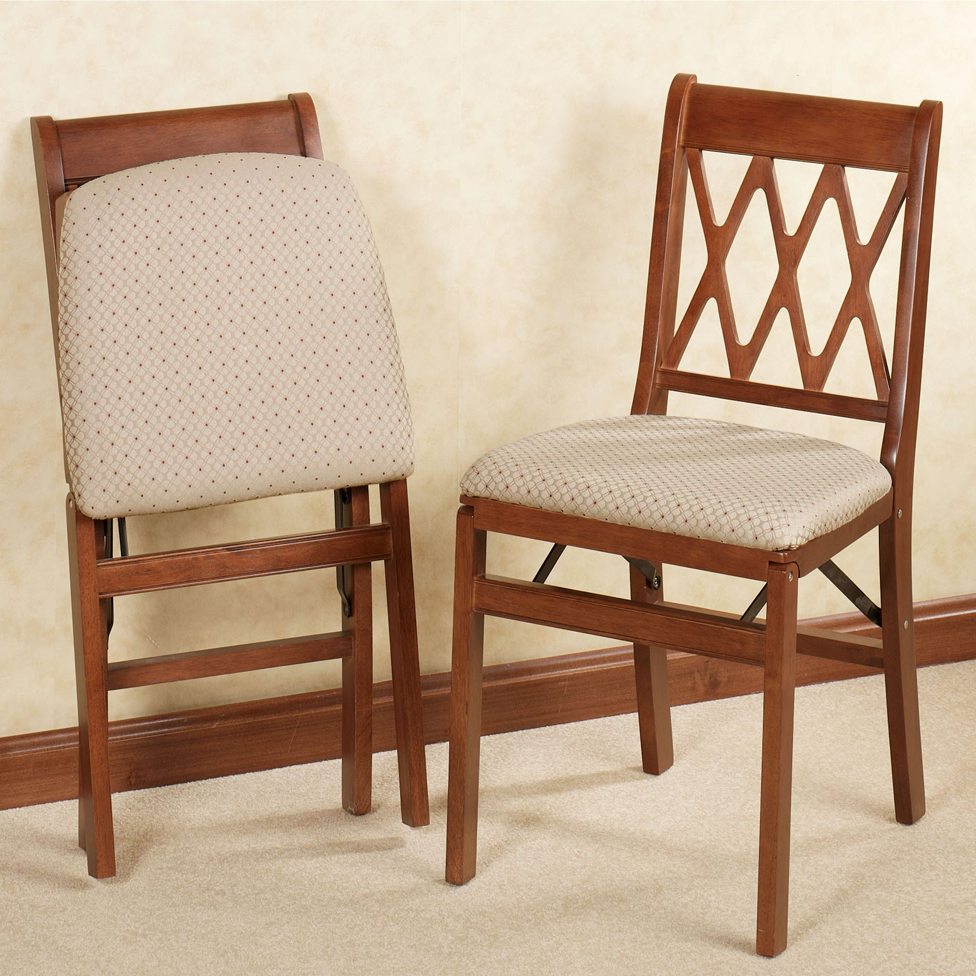 Lattice back folding chair pair for Stackable dining room chairs